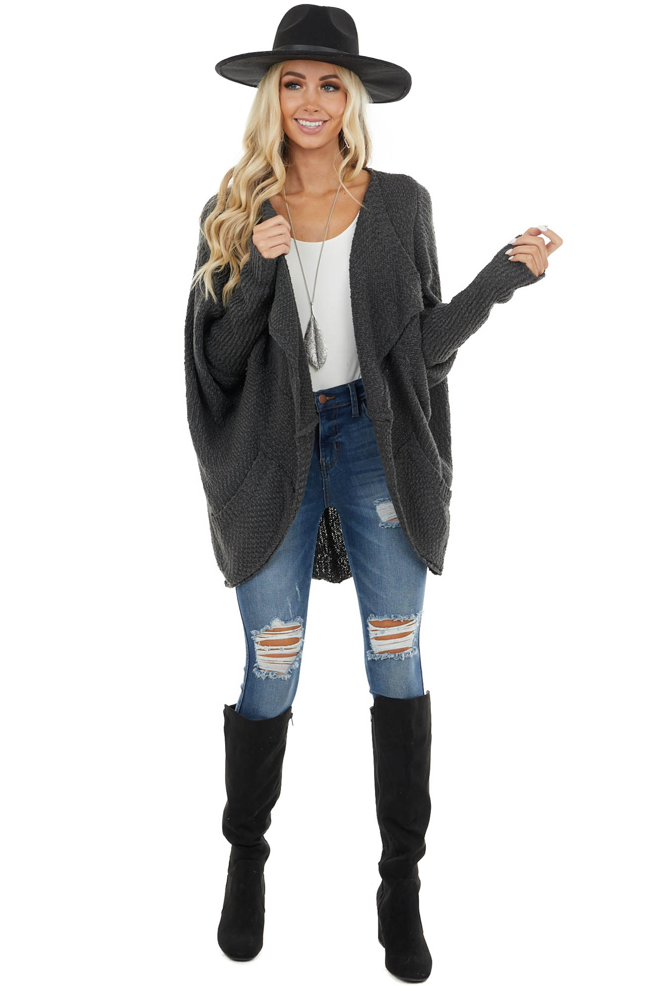 Charcoal Open Front Cardigan with Long Dolman Sleeves