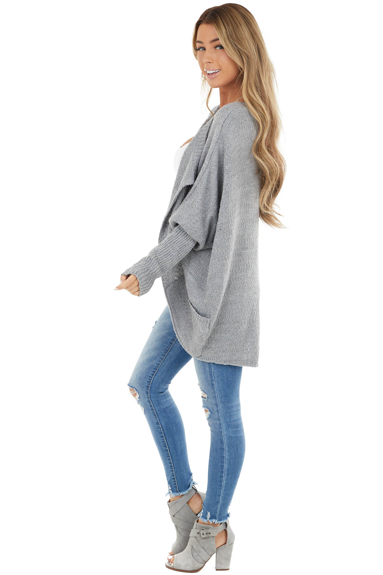 Slate Grey Open Front Cardigan with Long Dolman Sleeves