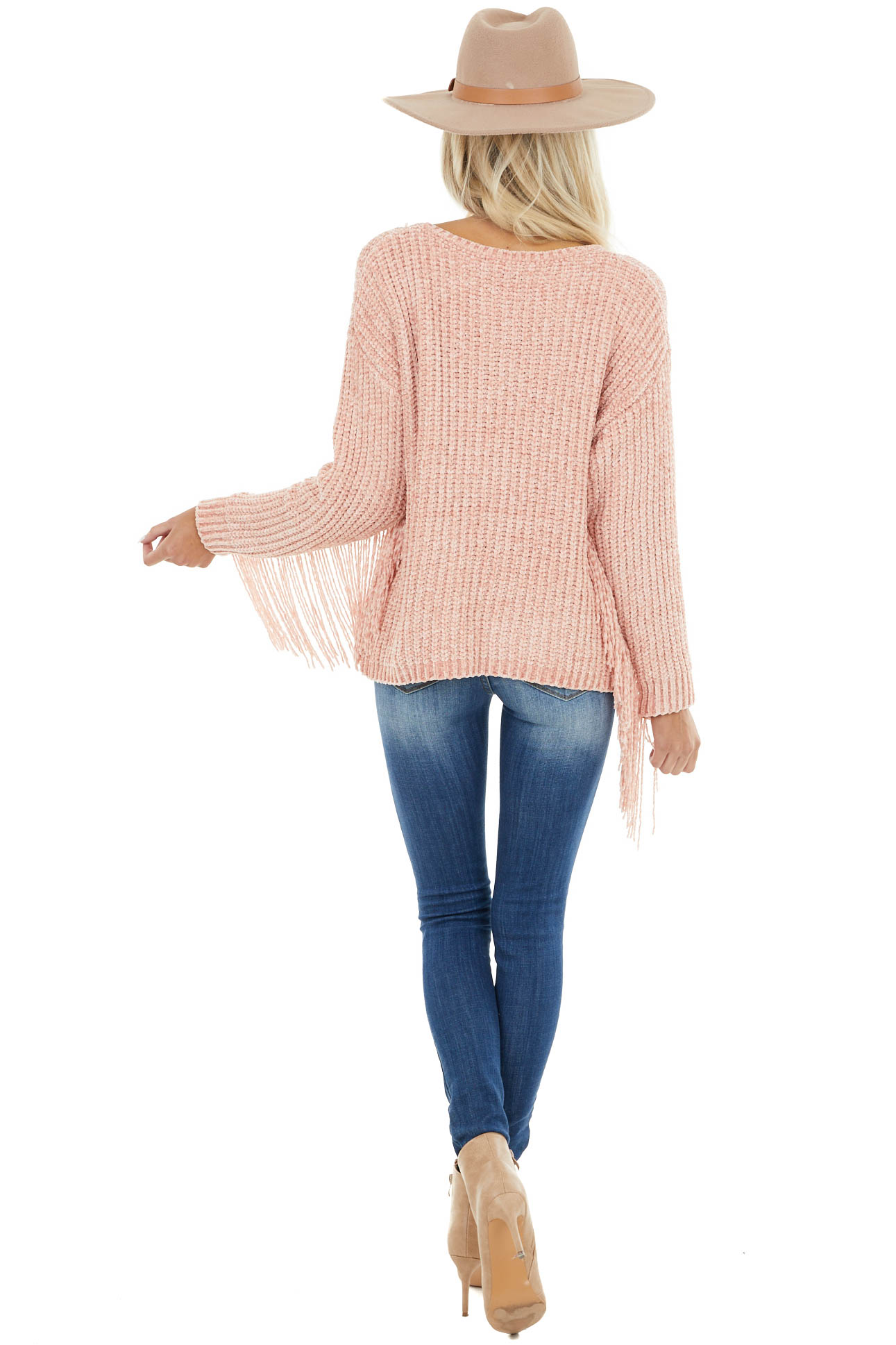 Blush Super Soft Chenille Sweater with Fringe Details