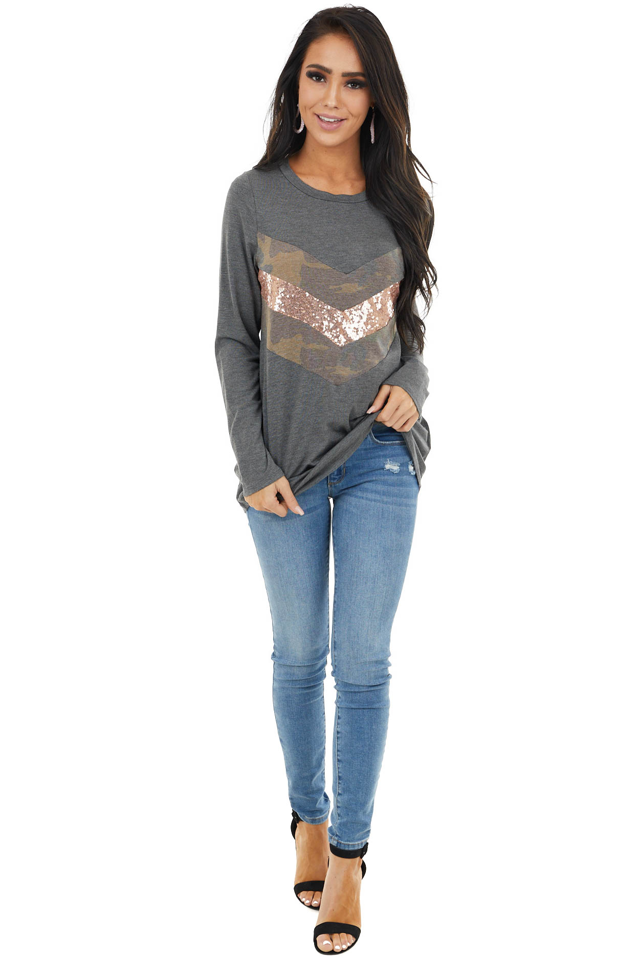 Charcoal Long Sleeve Top with Sequin and Camo Details