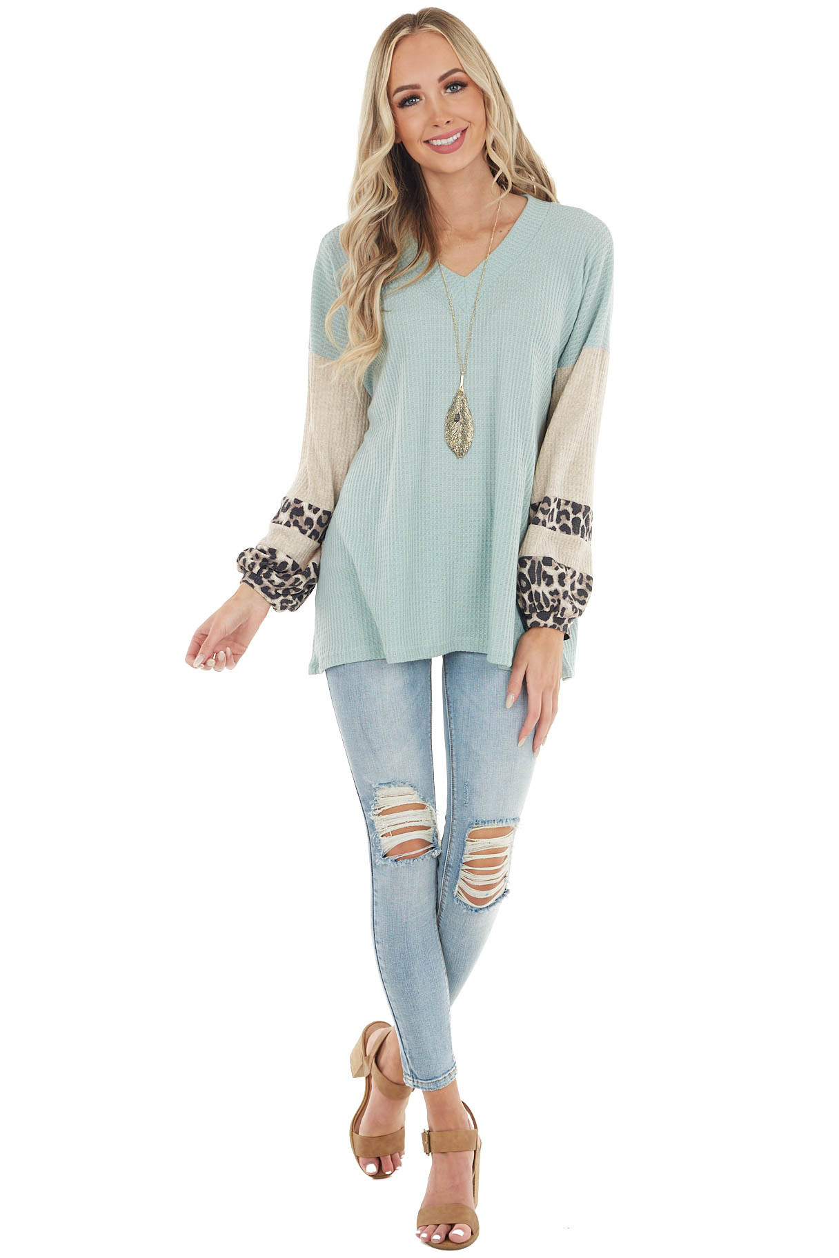 Sage Waffle Knit Top with Oatmeal and Leopard Print Sleeves