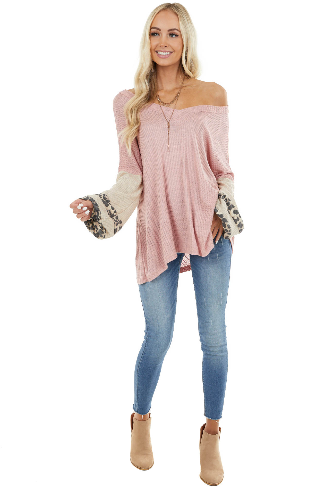 Blush Waffle Knit Top with Oatmeal and Leopard Print Sleeves