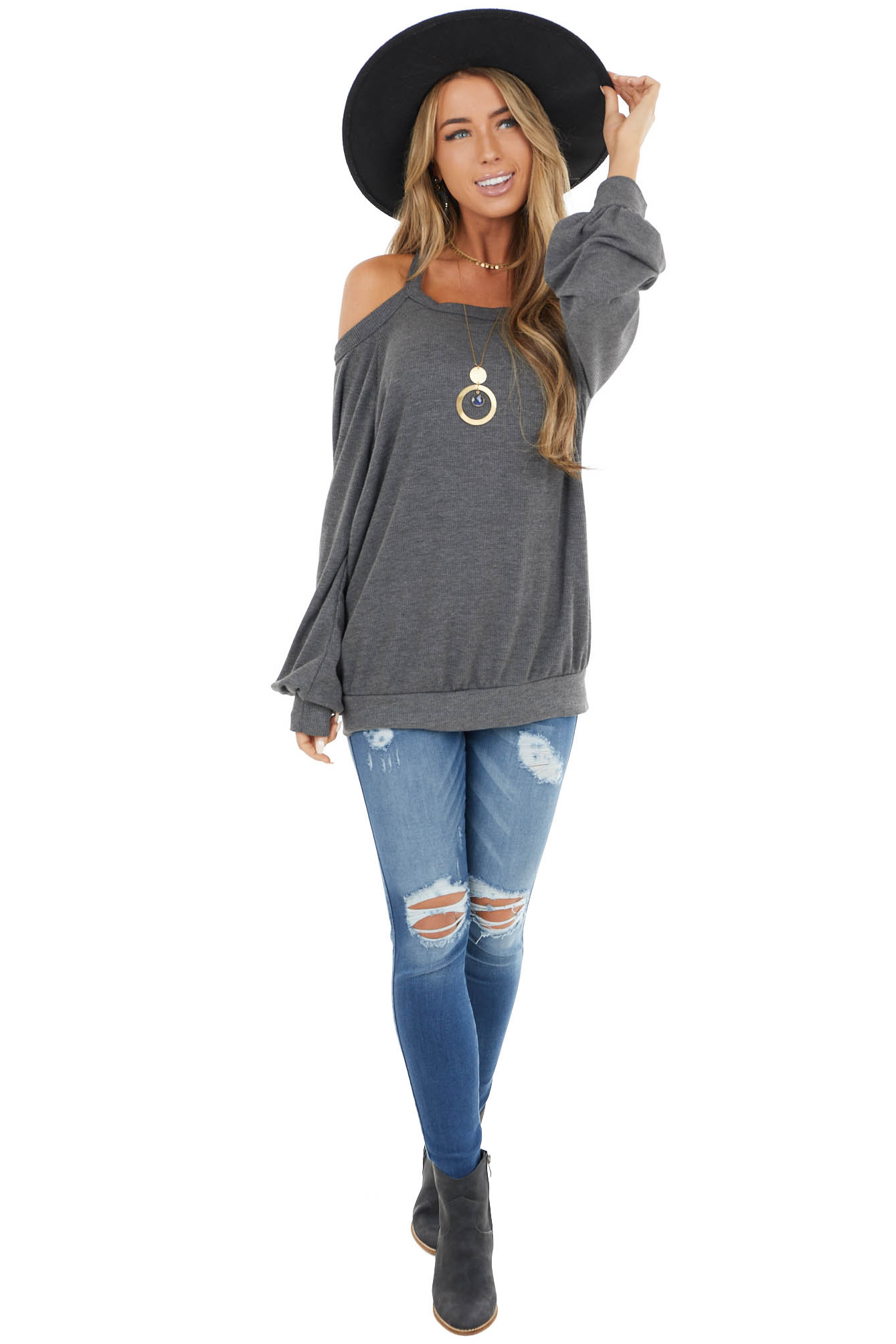 Charcoal Cold Shoulder Long Sleeve Top with Keyhole Detail