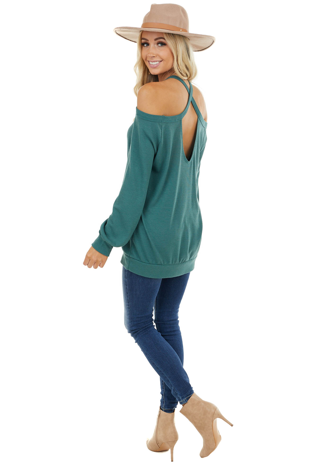 Pine Green Cold Shoulder Long Sleeve Top with Keyhole Detail