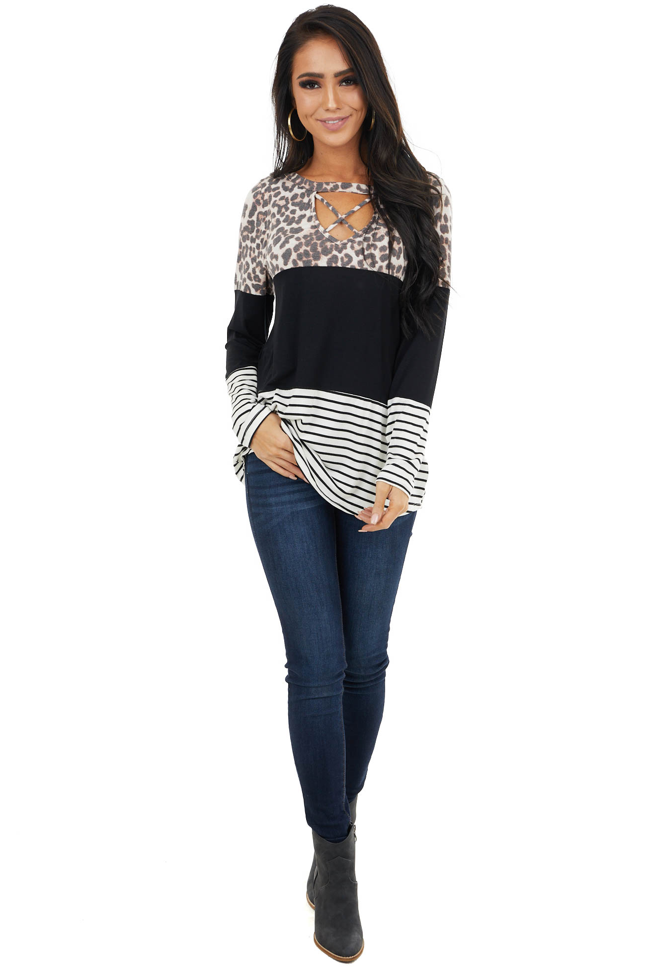 Black Multiprint Colorblock Top with Criss Cross Cutout