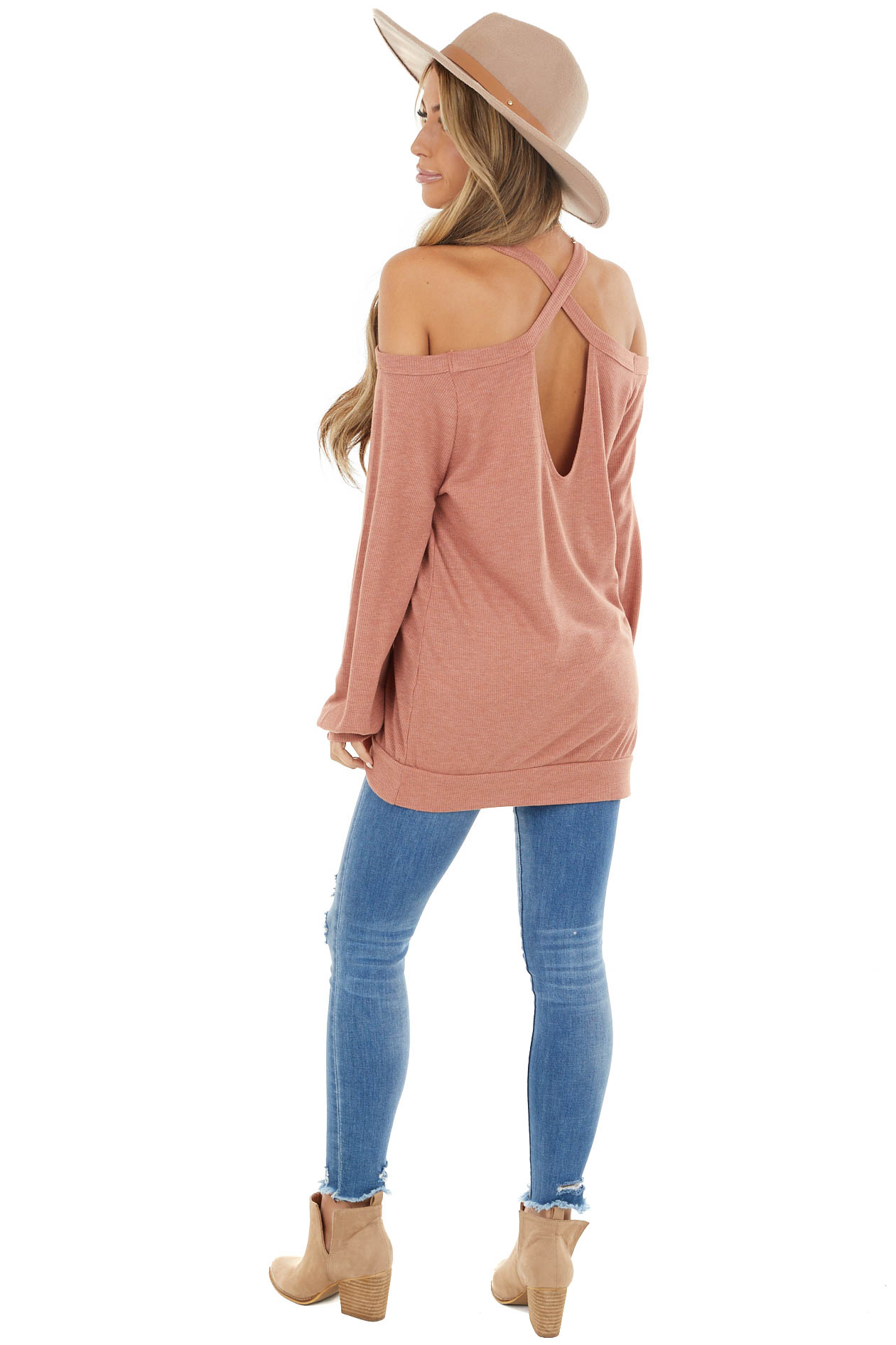 Marsala Cold Shoulder Long Sleeve Top with Keyhole Detail