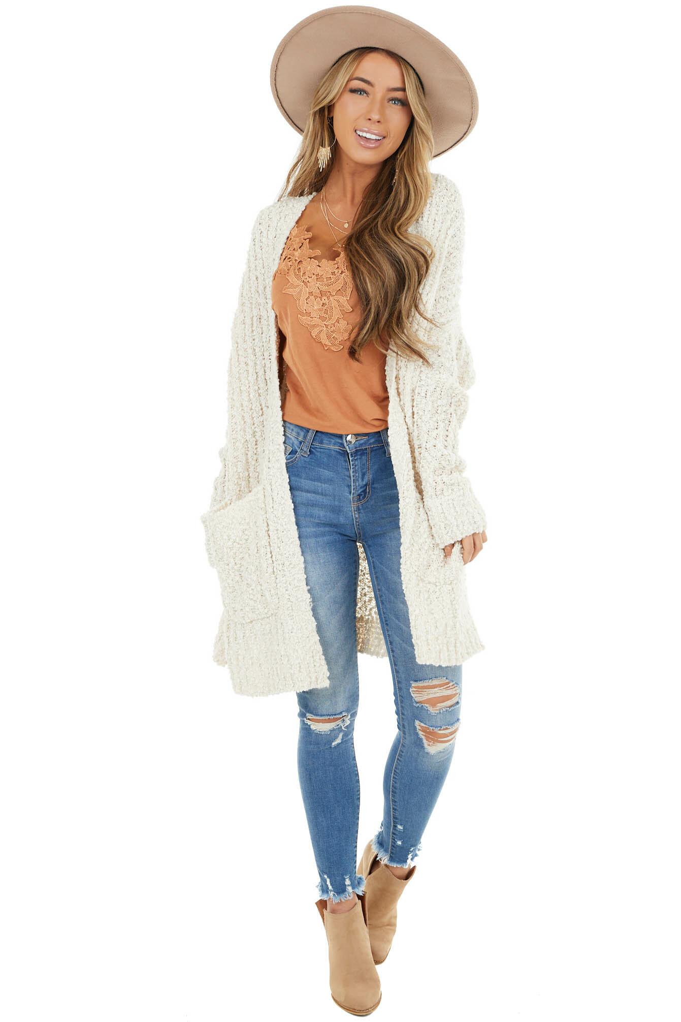 Ivory Popcorn Knit Long Cardigan with Long Sleeves
