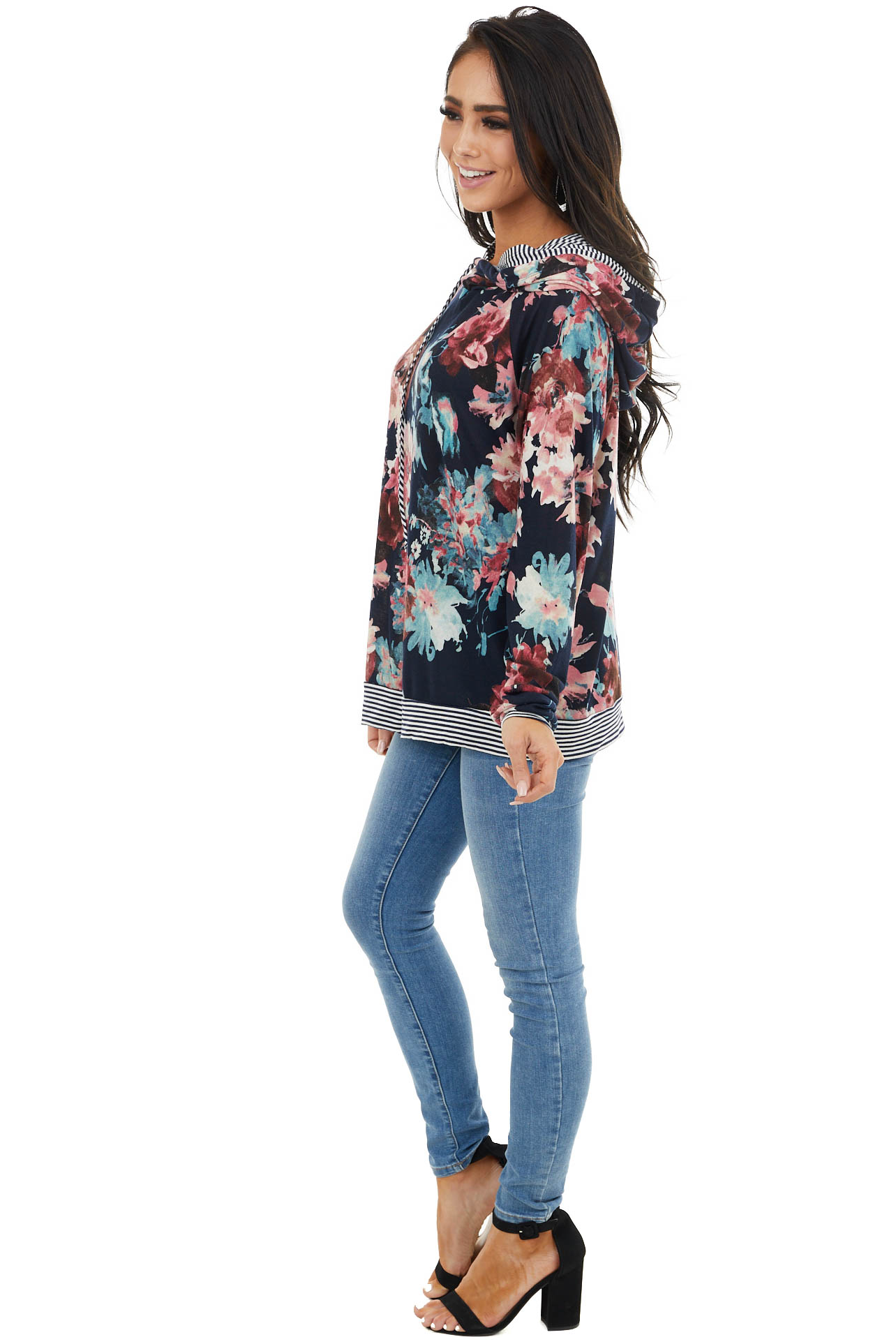 Dark Navy Floral Print Double Hoodie with Striped Contrast