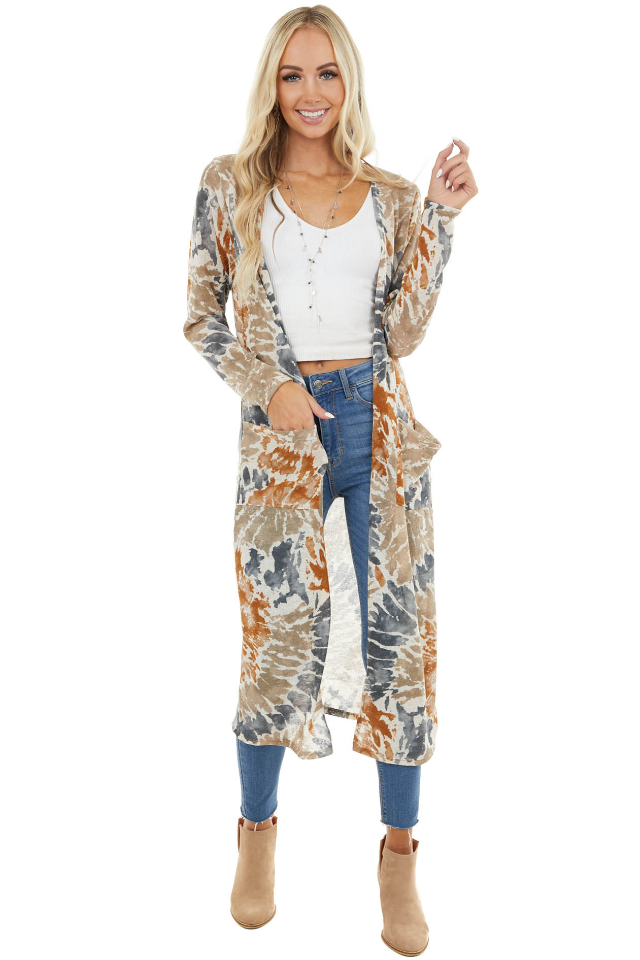 Beige Tie Dye Long Sleeve Open Front Duster Cardigan