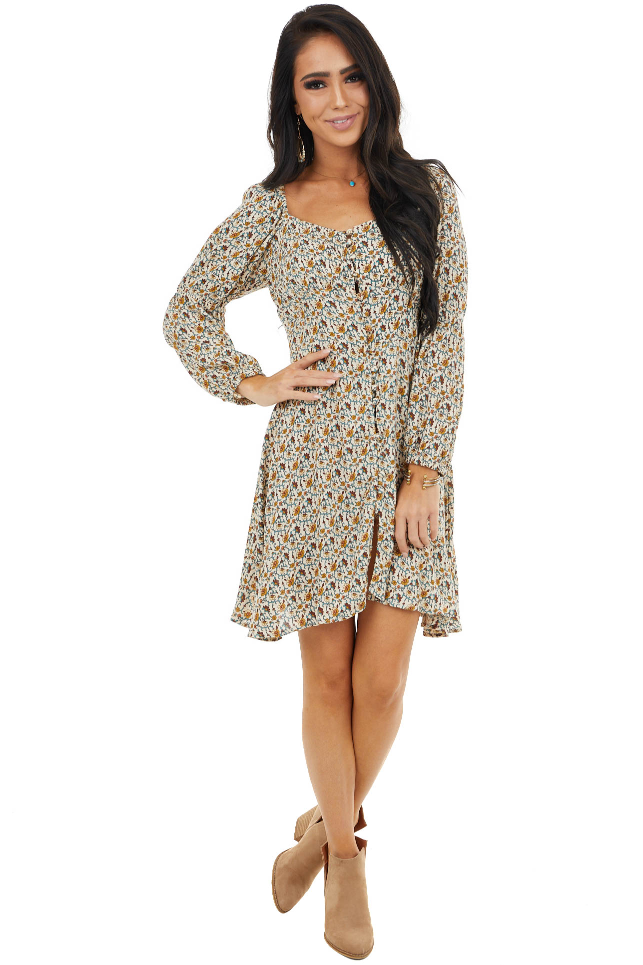 Cream Floral Print Mini Dress with Button Up Front