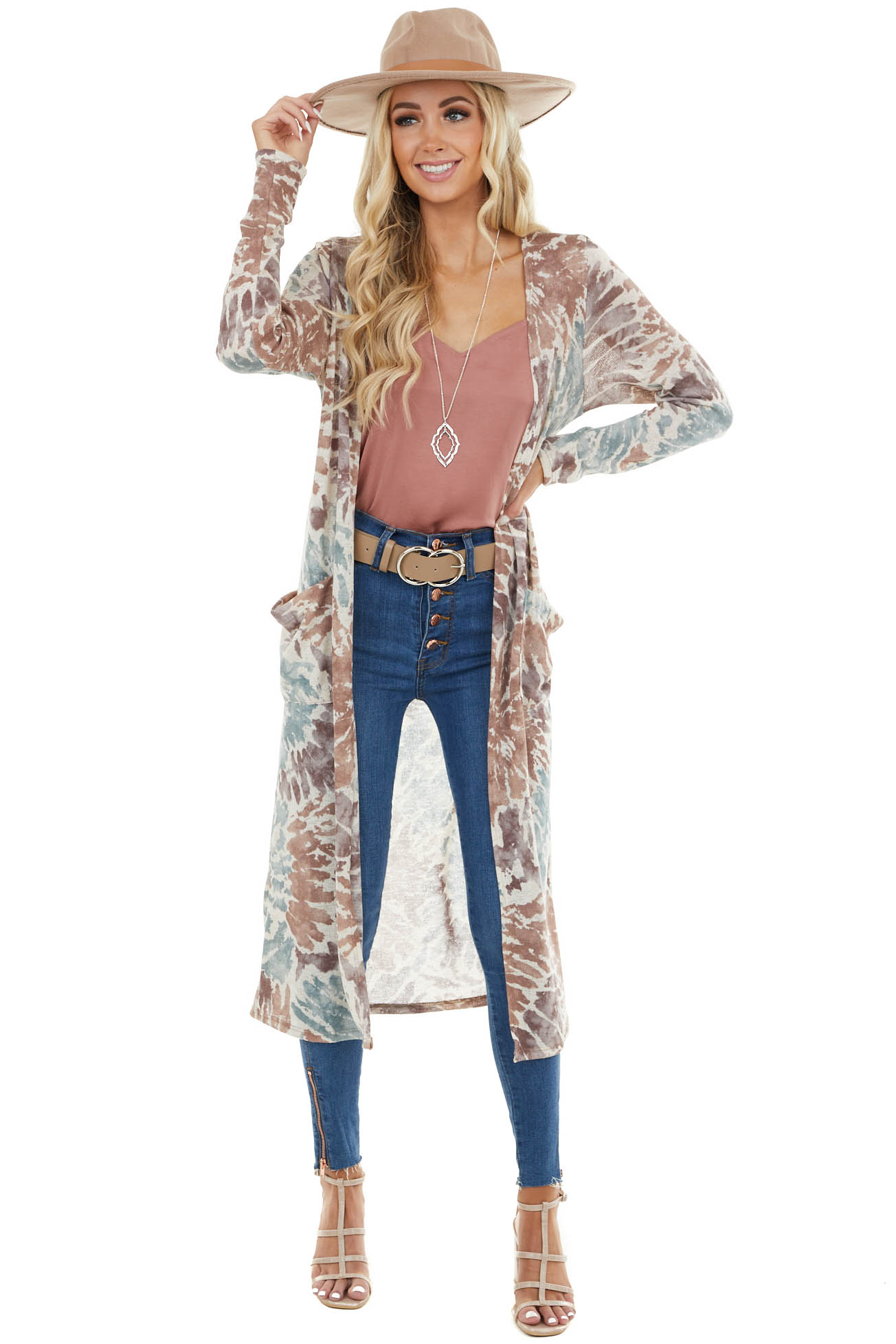 Marsala and Teal Tie Dye Open Front Duster Cardigan