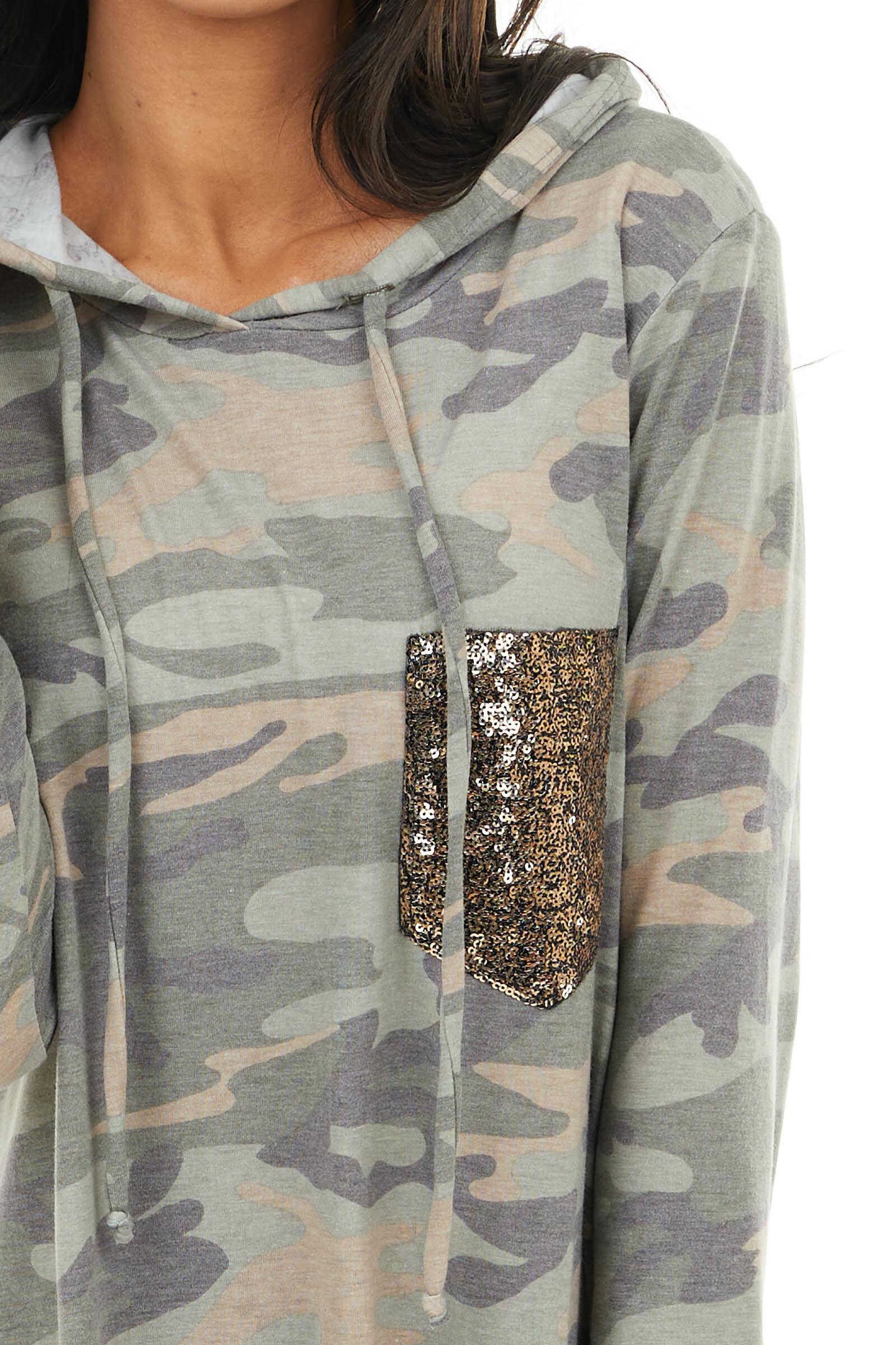 Sage Camo Print Drawstring Hoodie with Gold Sequin Pocket