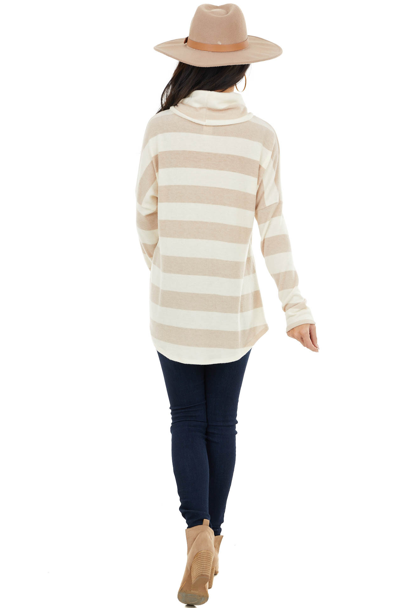 Desert Sand Striped Knit Top with Cowl Neck and Knot Detail