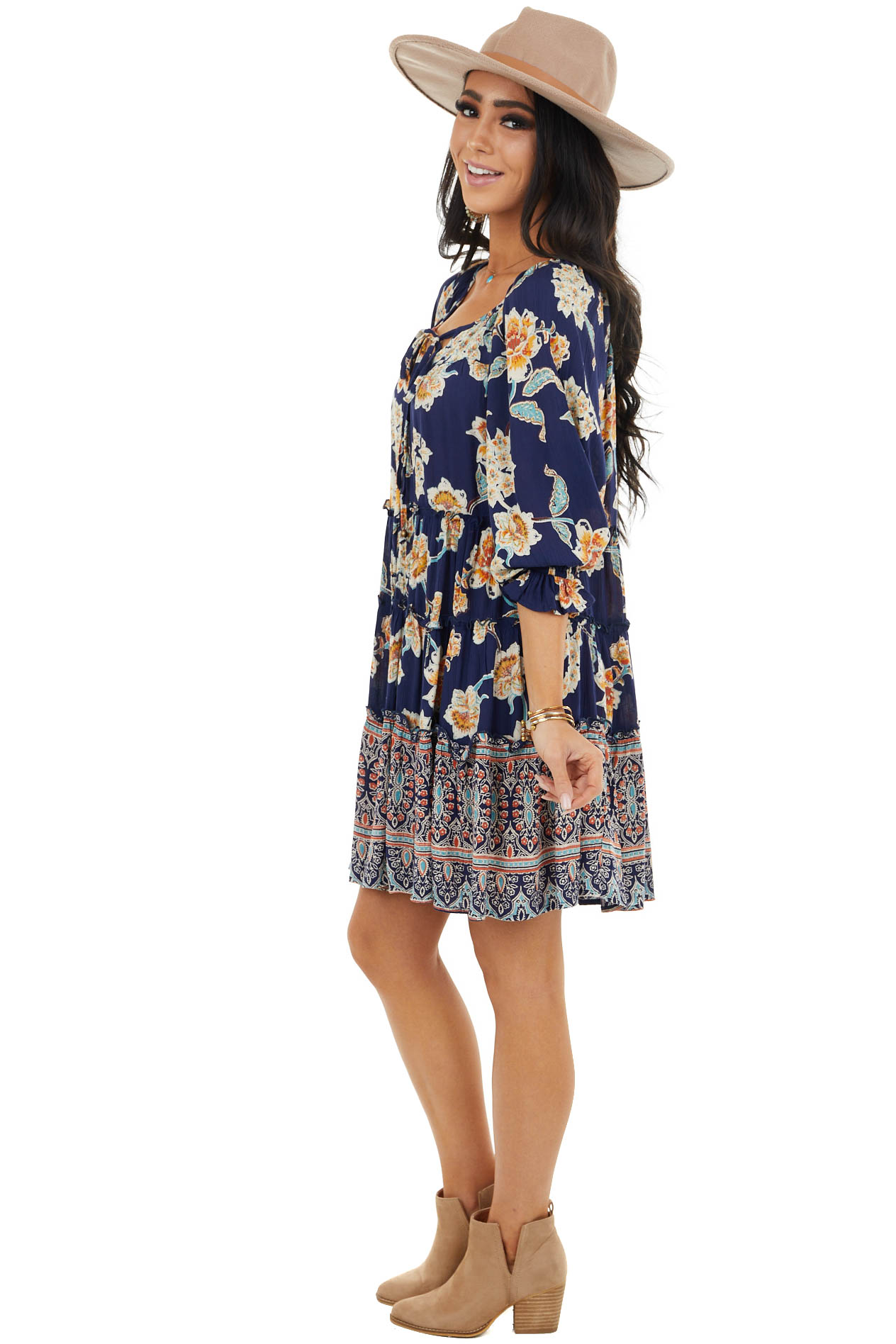 Navy Floral Loose Fit Tiered Dress with 3/4 Length Sleeves