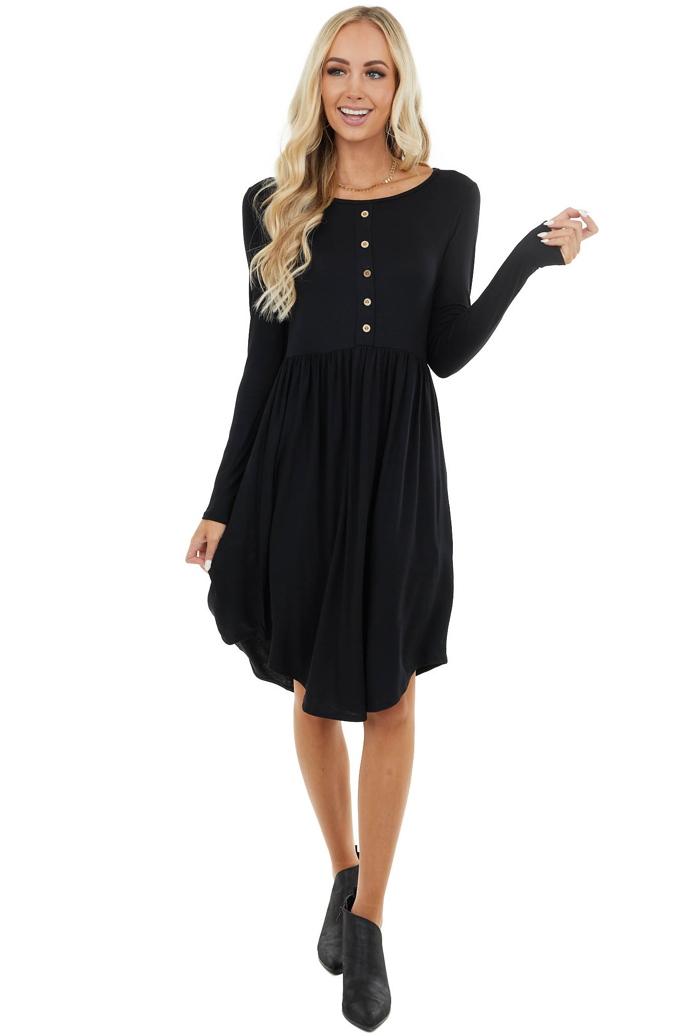 Black Long Sleeve Knit Dress with Button Details
