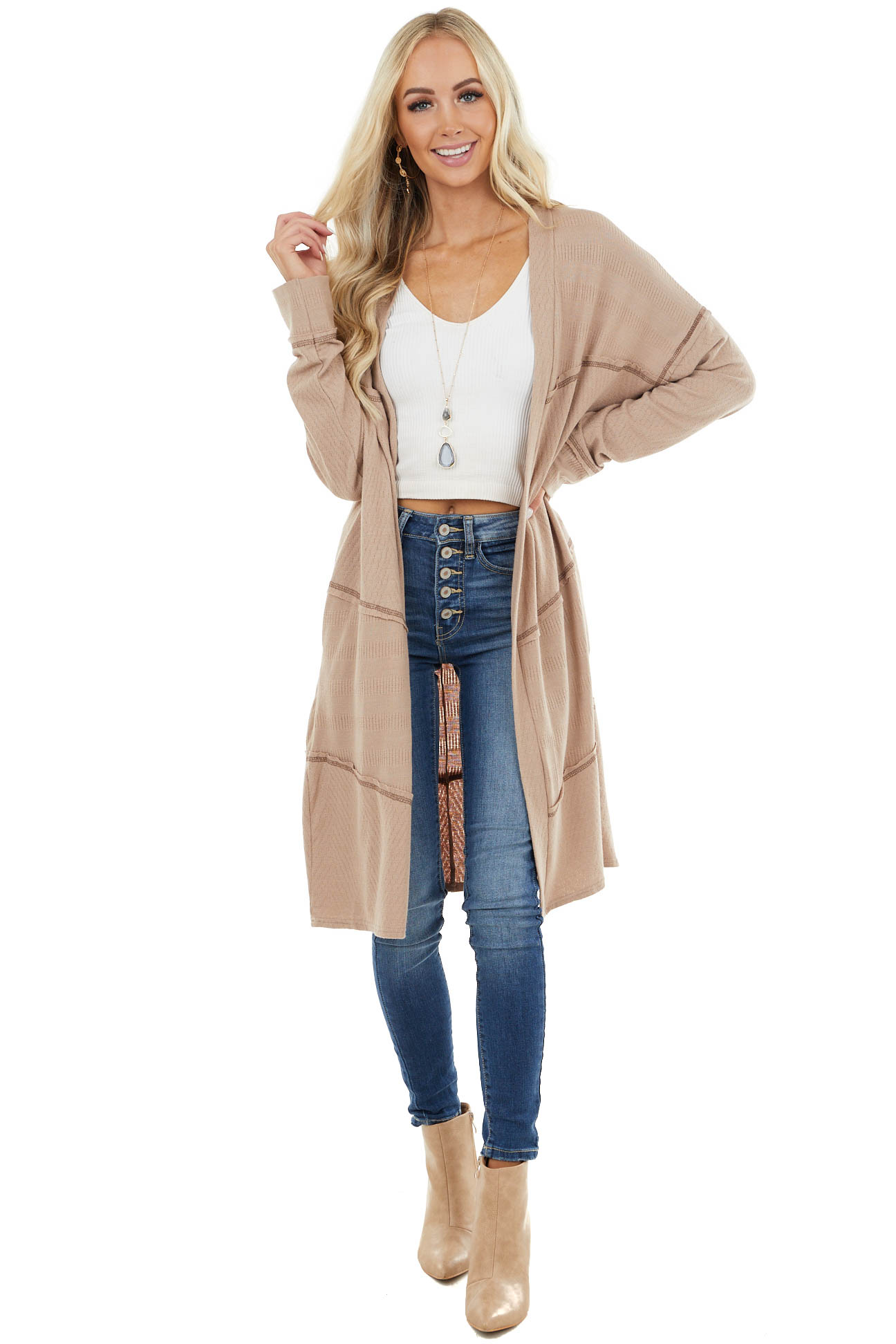Latte Knit Duster Cardigan with Exposed Stitching Detail