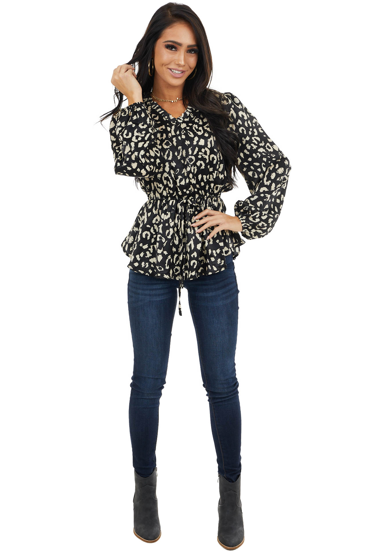 Black Leopard Print Blouse with V Neckline and Cinched Waist