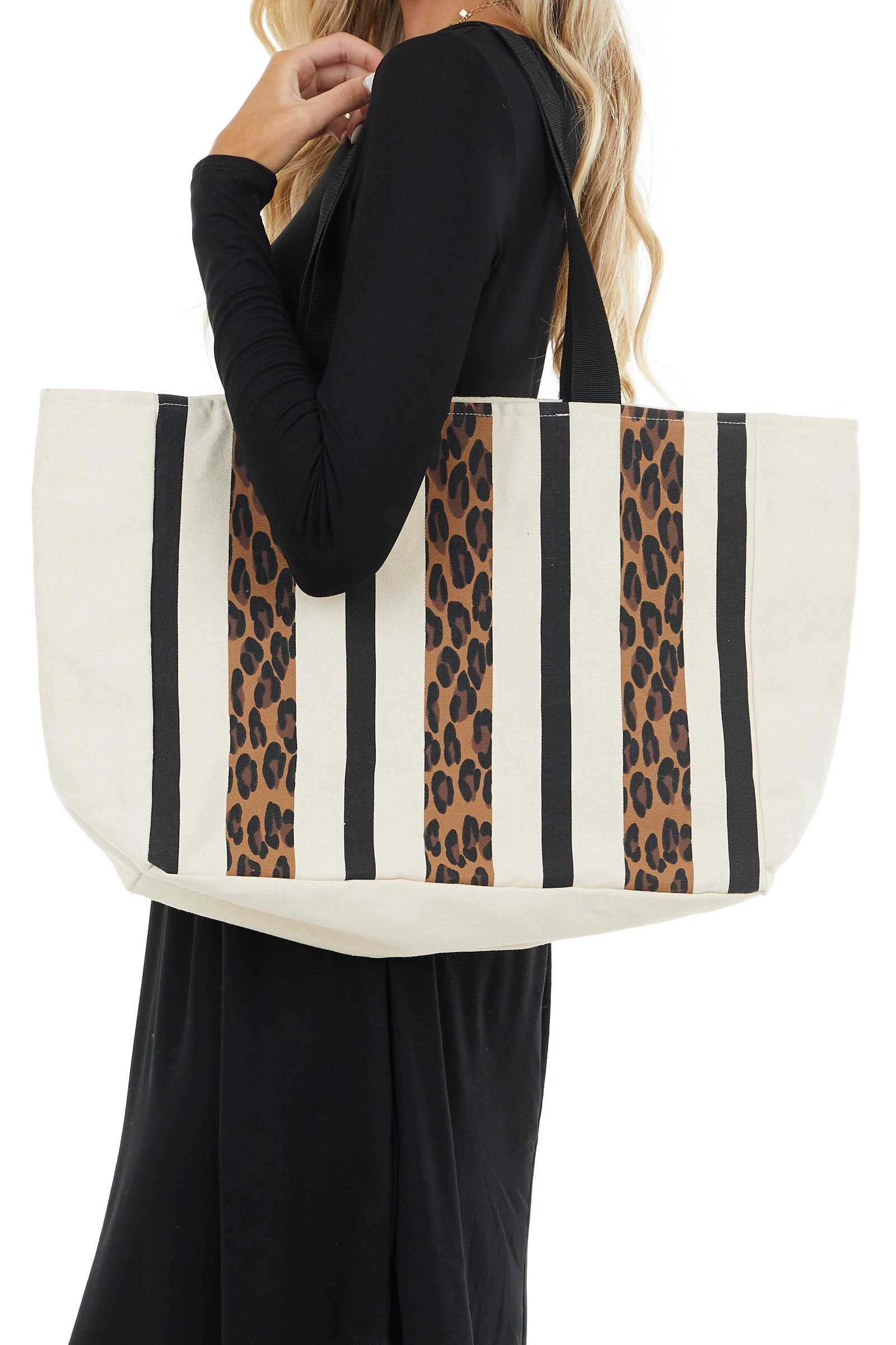 Ivory and Leopard Print Striped Large Tote Bag with Clasp