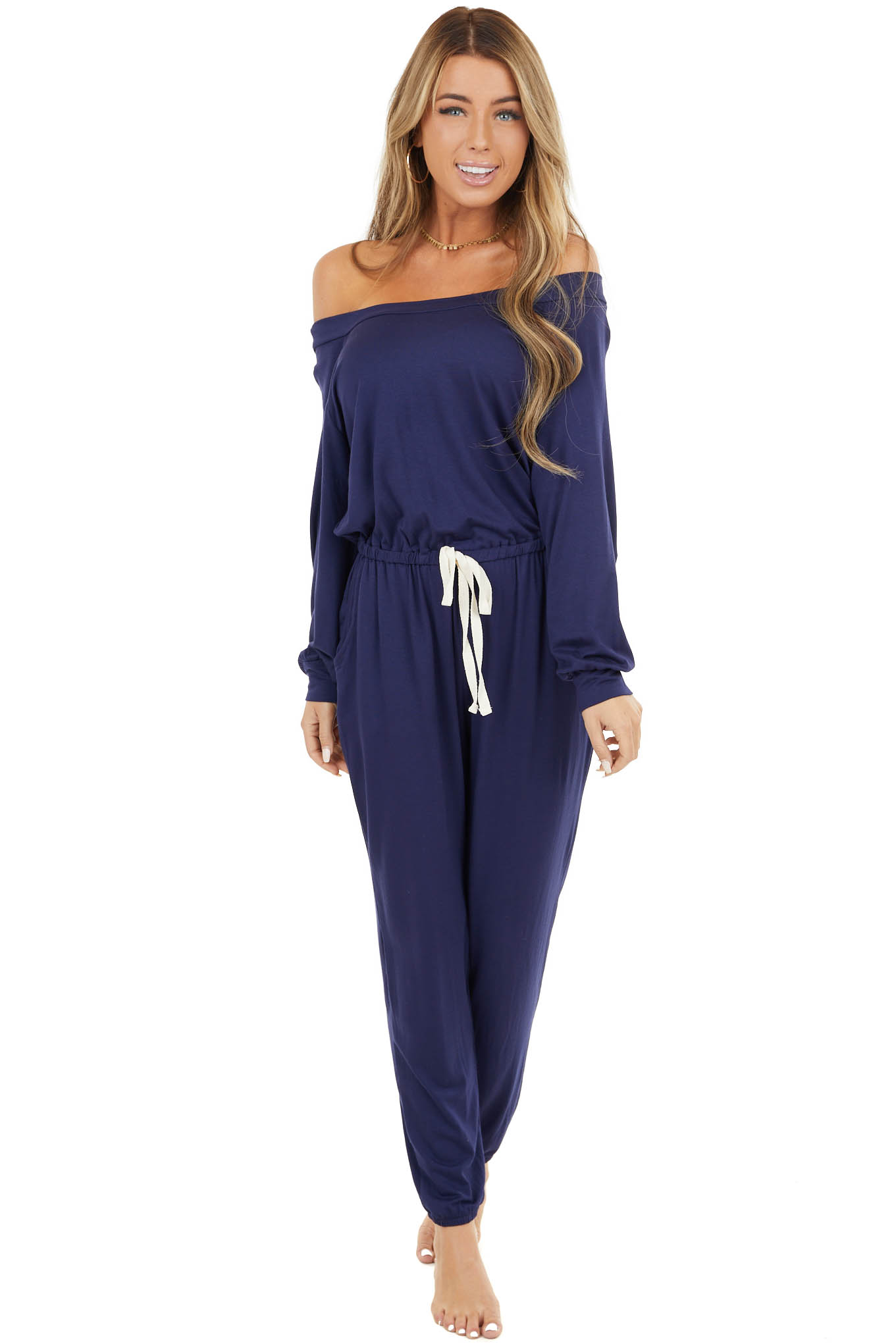 Navy Blue Off The Shoulder Knit Jumpsuit with Cinch Waist