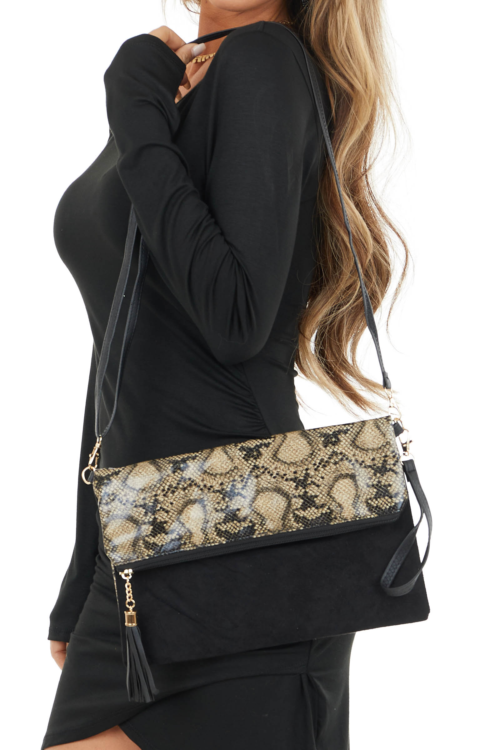Black Snakeskin Print Fold Over Clutch with Zipper Opening