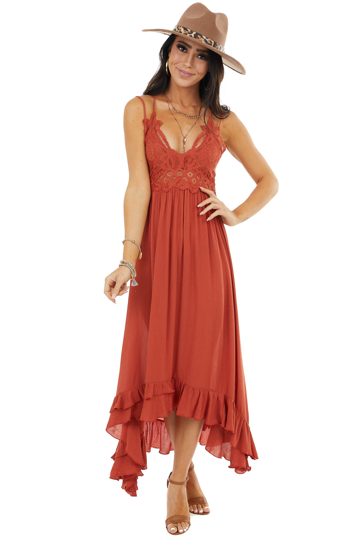 Terracotta Midi Dress with Lace Bust and Peekaboo Details