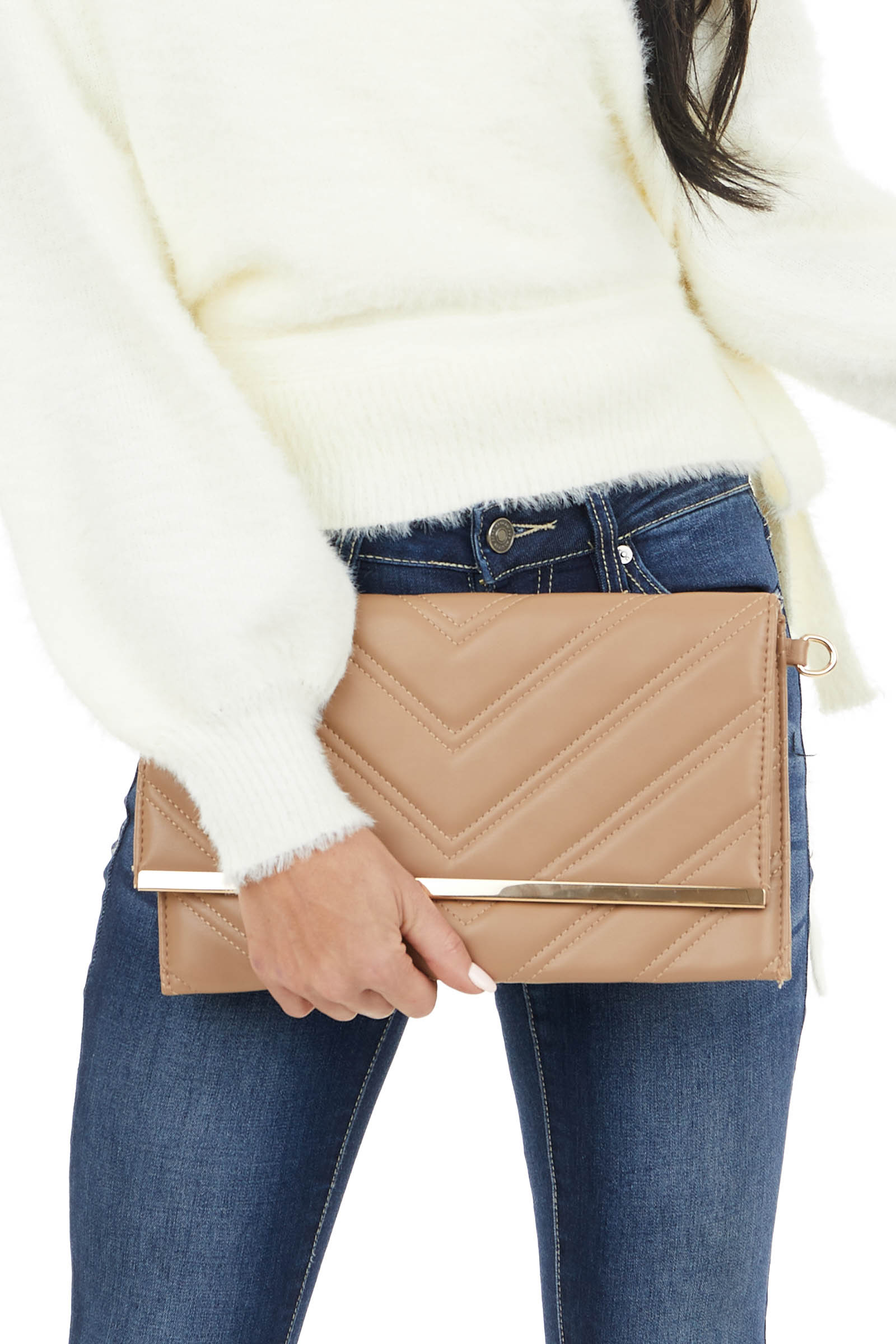 Latte Faux Leather Quilted Chevron Pattern Cross Body Bag
