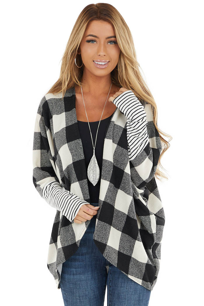 Black Buffalo Plaid Open Cardigan with White Striped Sleeves