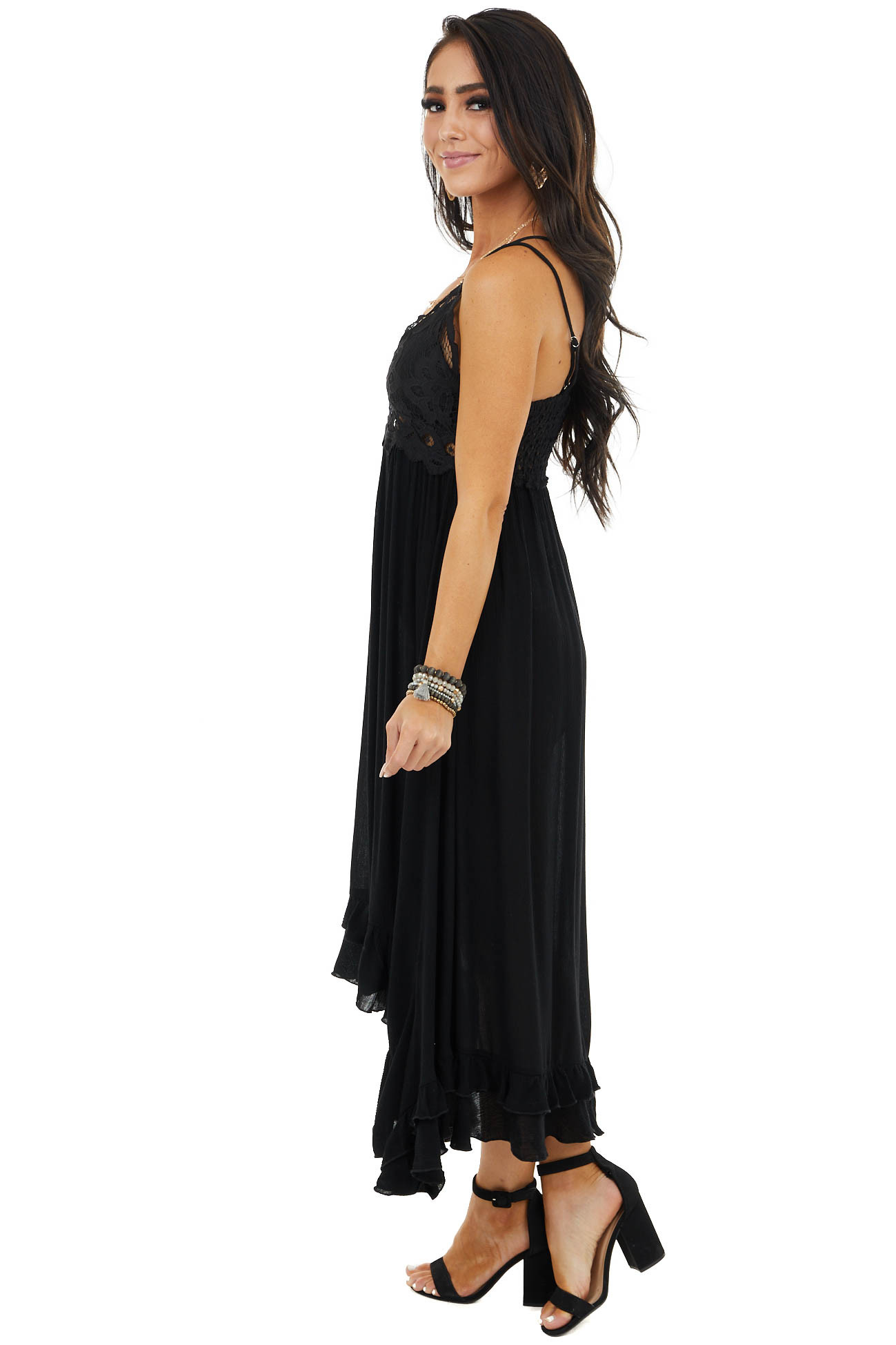 Black Midi Dress with Lace Bust and Peekaboo Details