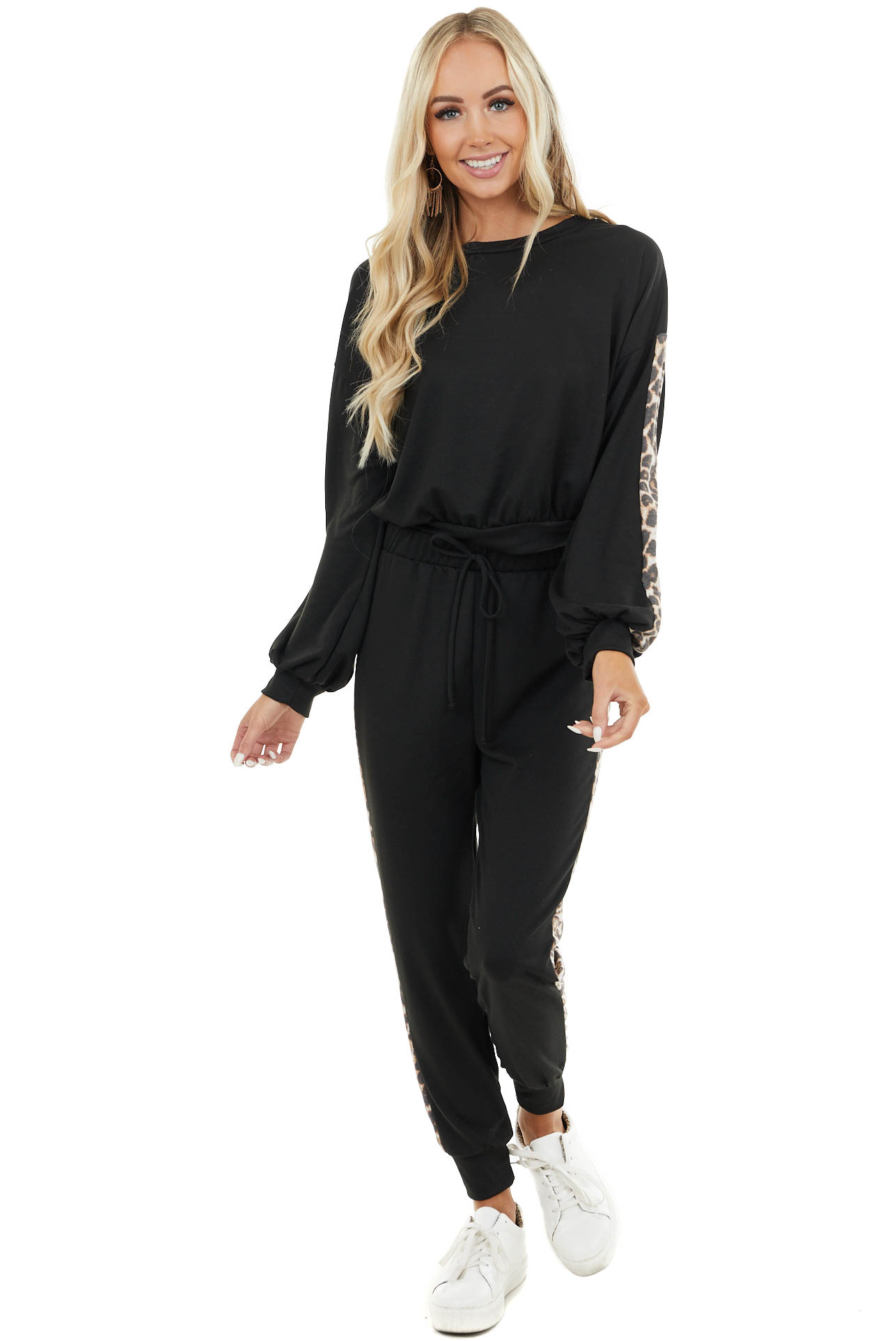 Black Crop Top and Jogger Set with Leopard Print Contrast