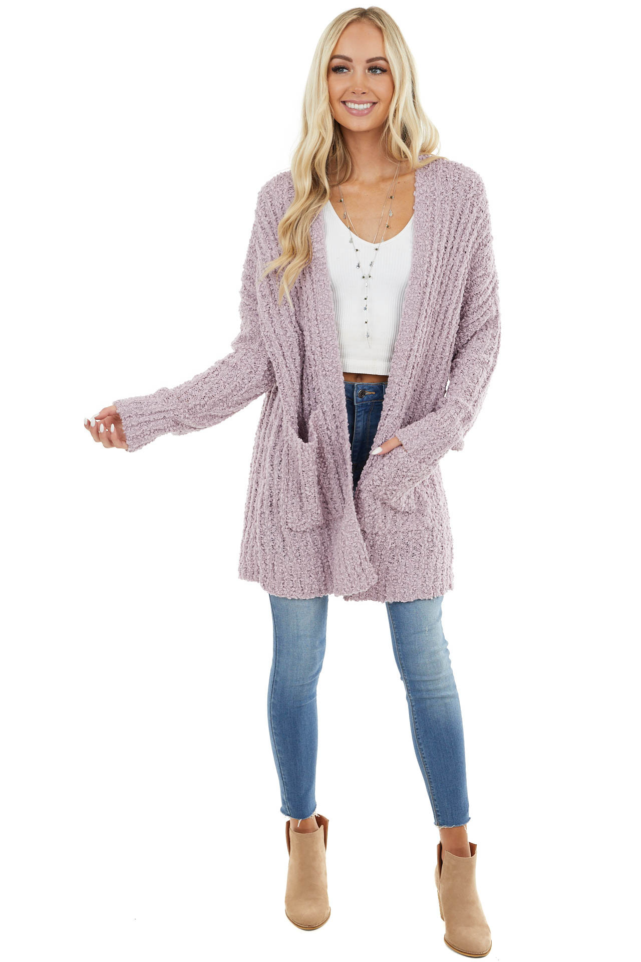 Lavender Popcorn Knit Long Cardigan with Long Sleeves