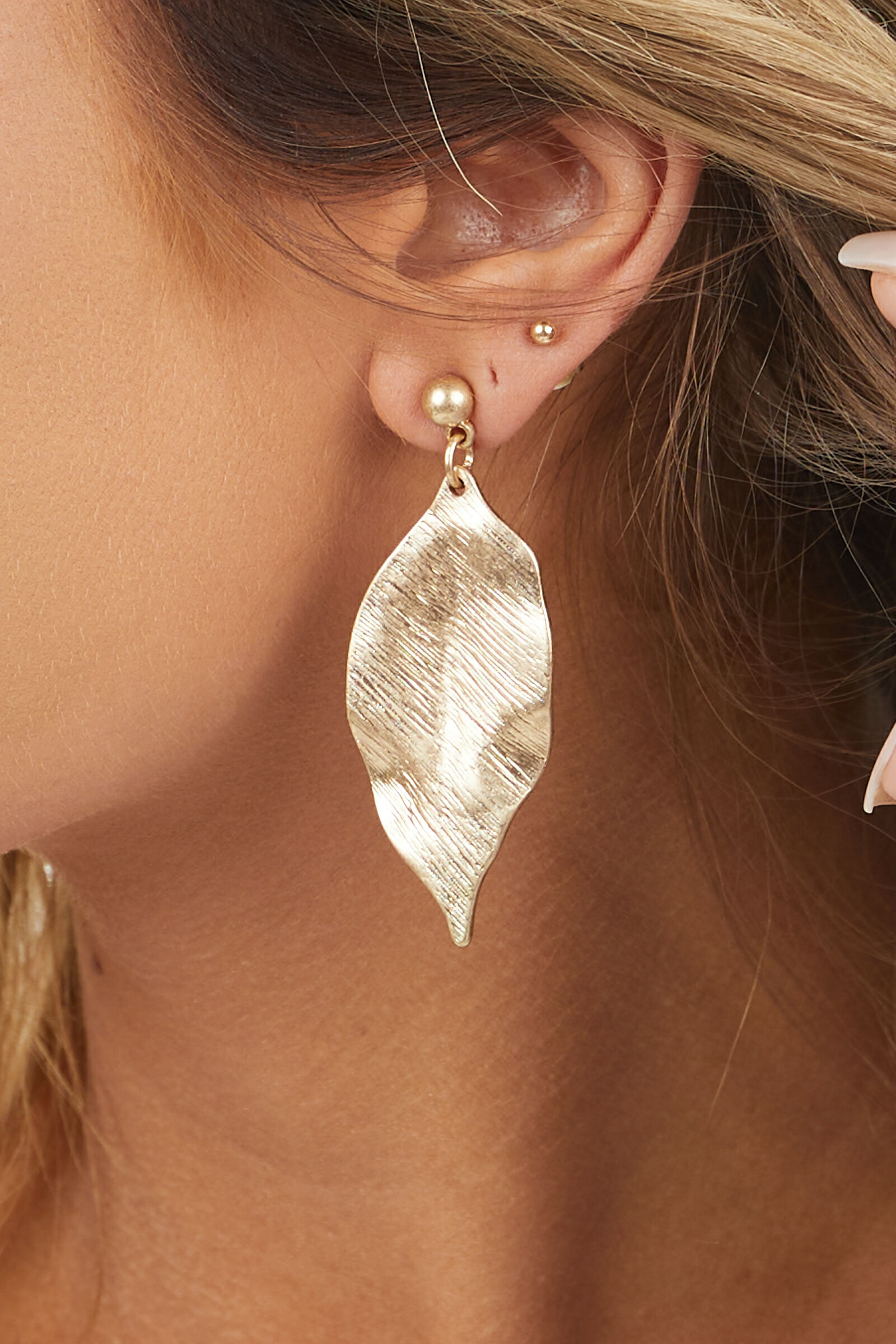 Gold Brushed Leaf Dangle Earrings with Gold Ball Stud