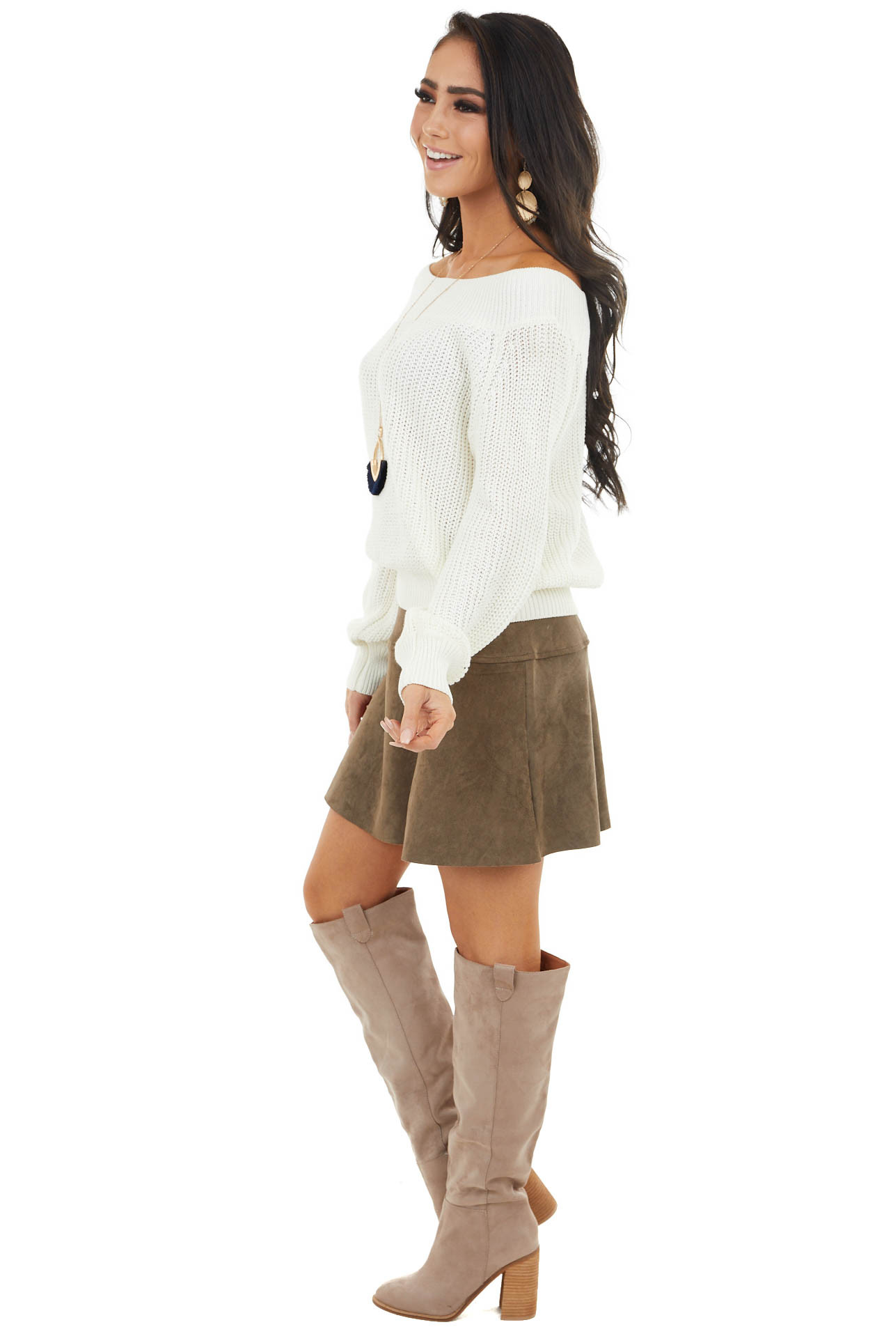 Ivory Off the Shoulder Ribbed Long Sleeve Sweater