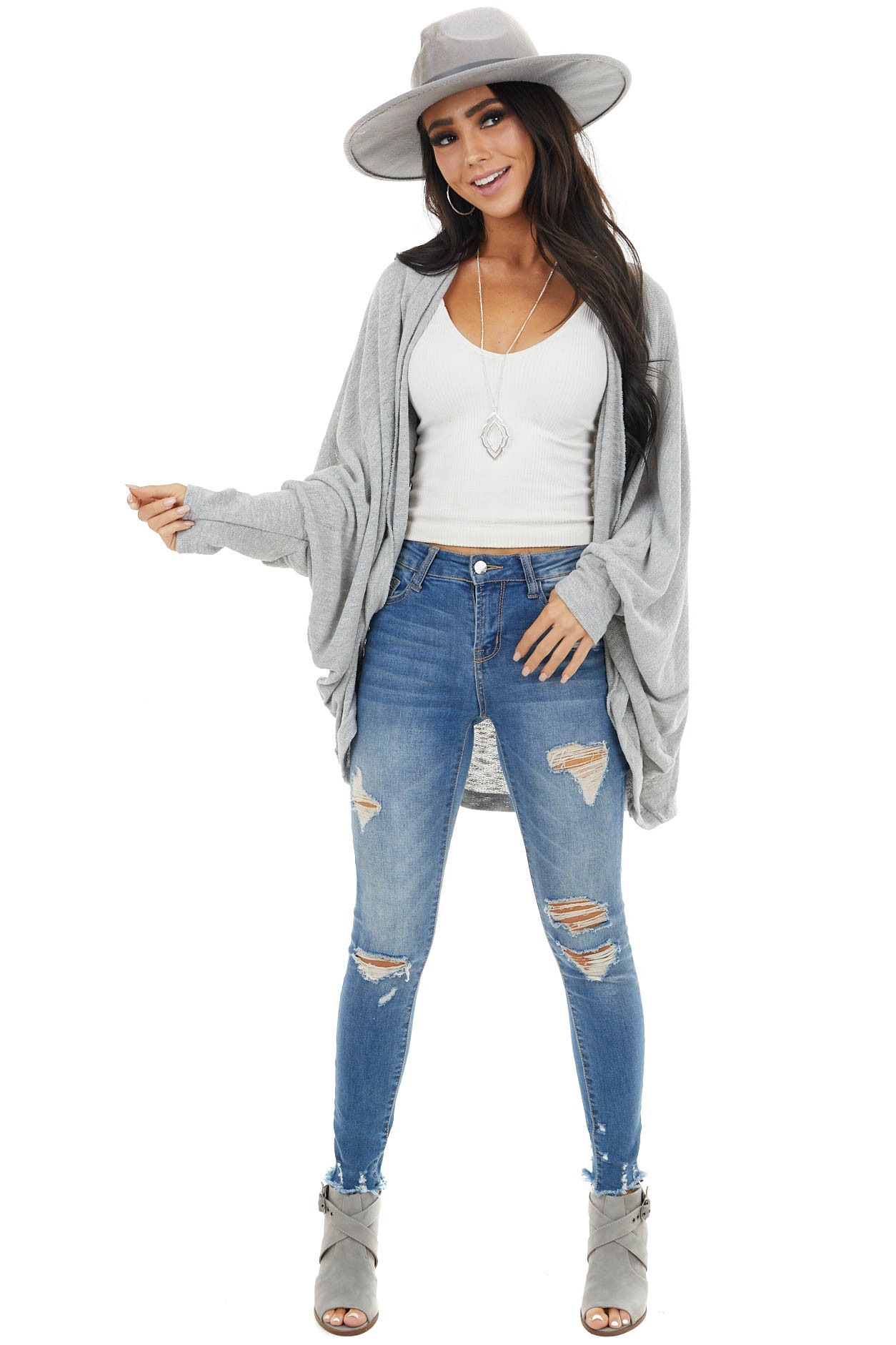 Dove Grey Loose Knit Open Front Cardigan with Dolman Sleeves