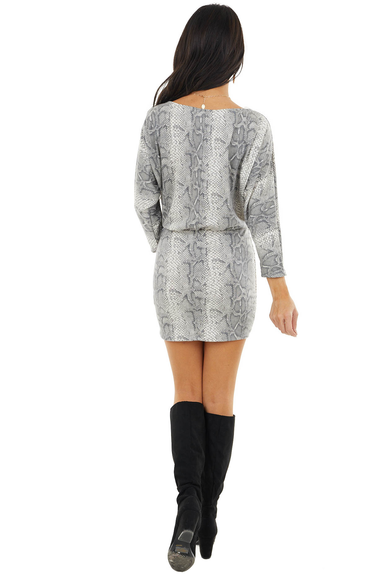Off White and Stone Long Sleeve Snakeskin Mini Dress