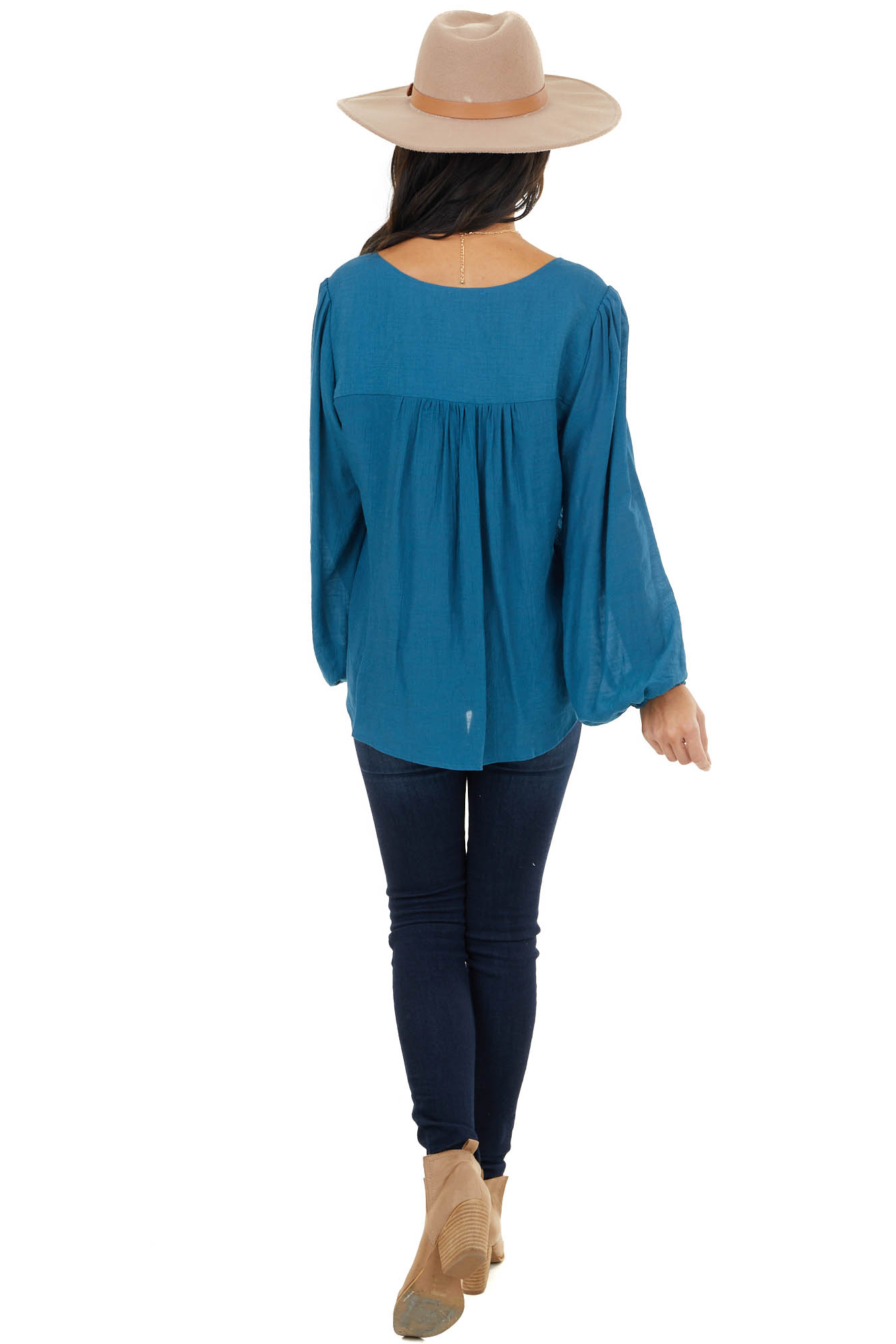 Dark Teal Surplice Puff Sleeve Blouse with Bubble Hemline