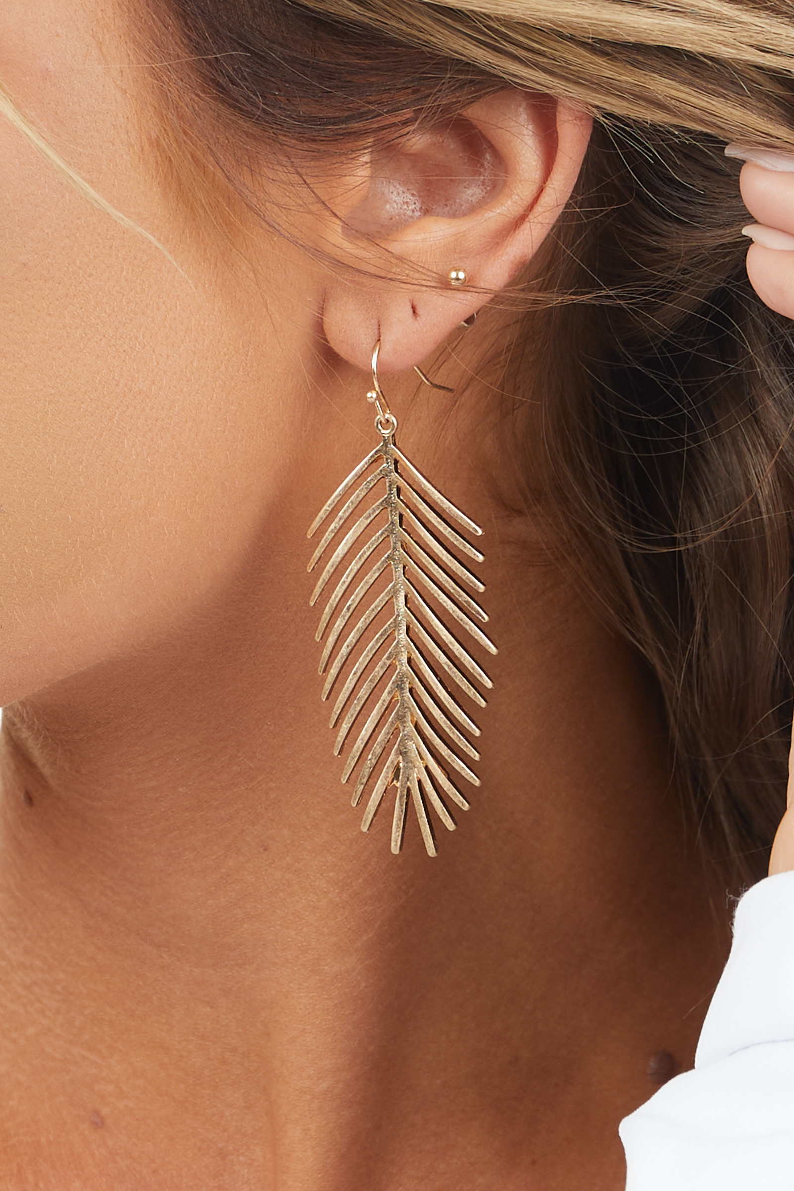 Gold Dangle Earrings with Palm Leaf Pendants