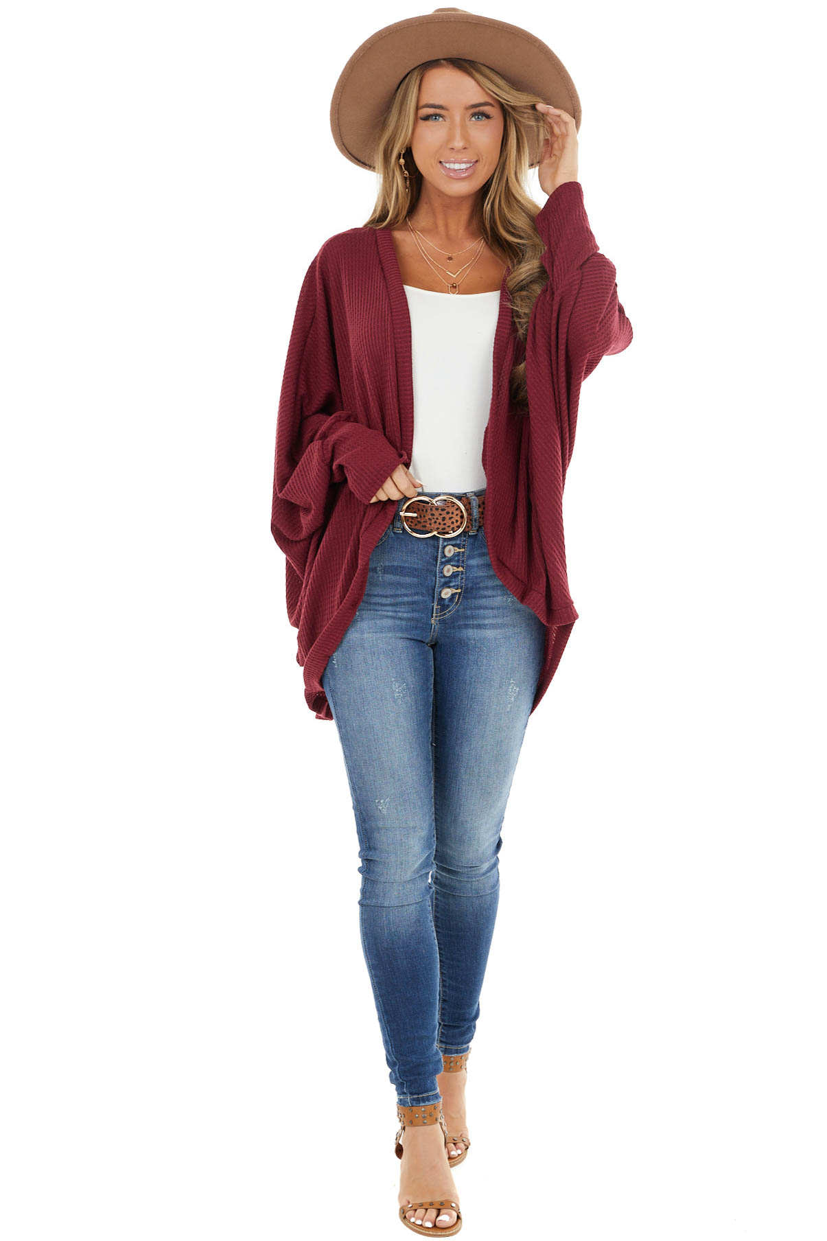 Burgundy Waffle Knit Open Front Cardigan with Dolman Sleeves