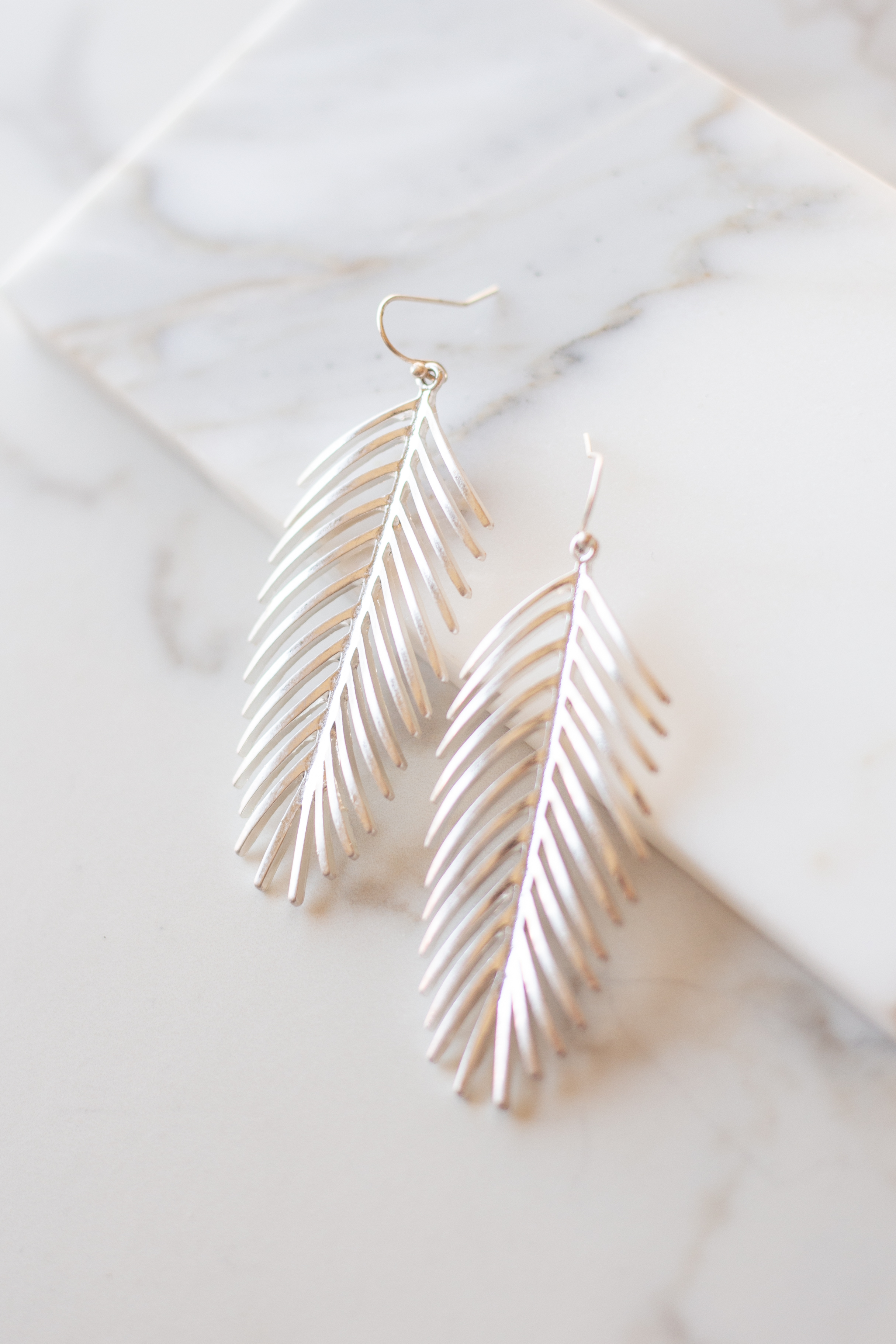 Silver Dangle Earrings with Palm Leaf Pendants
