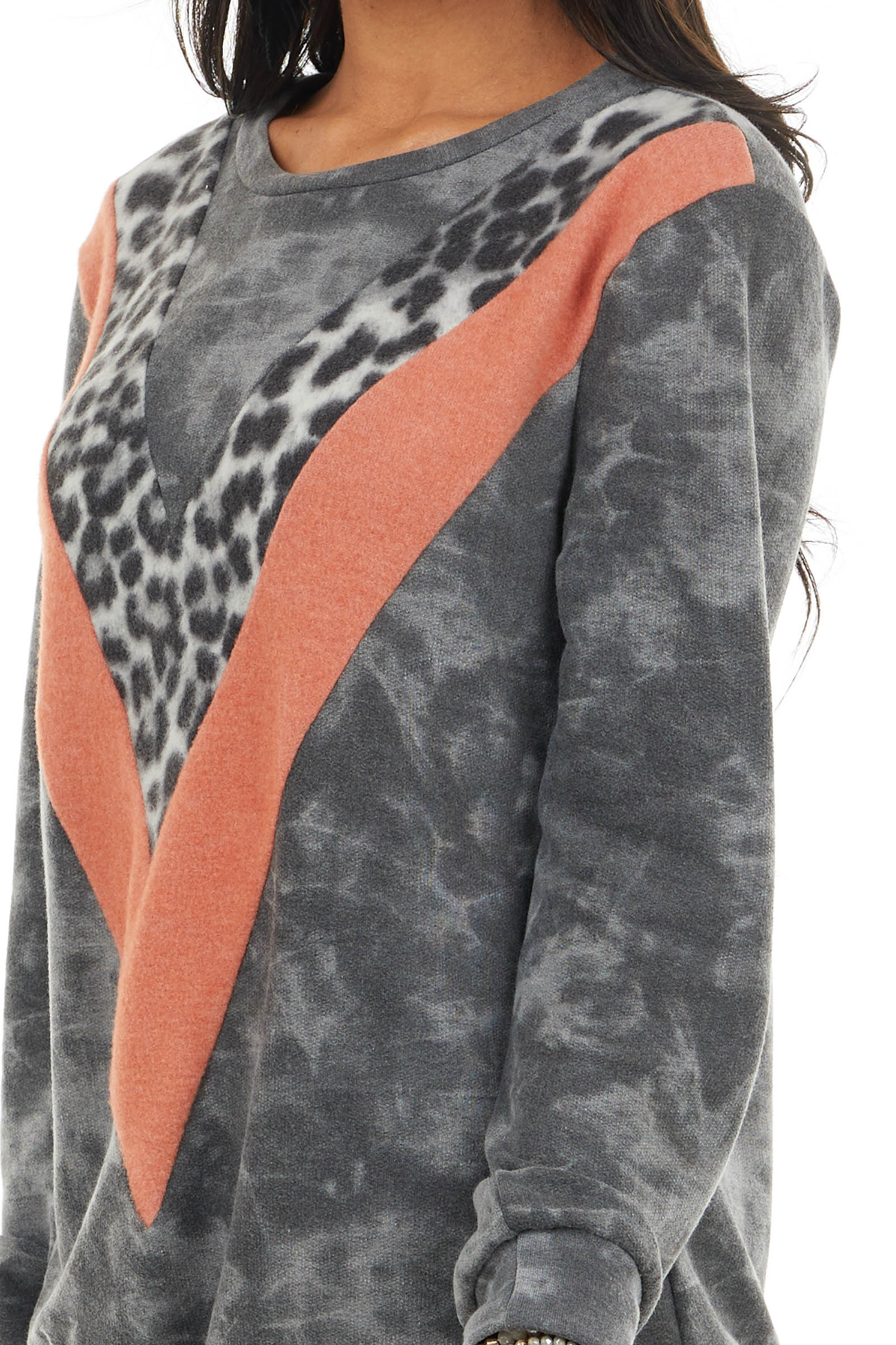 Charcoal and Tangerine Knit Top with Leopard Print Detail