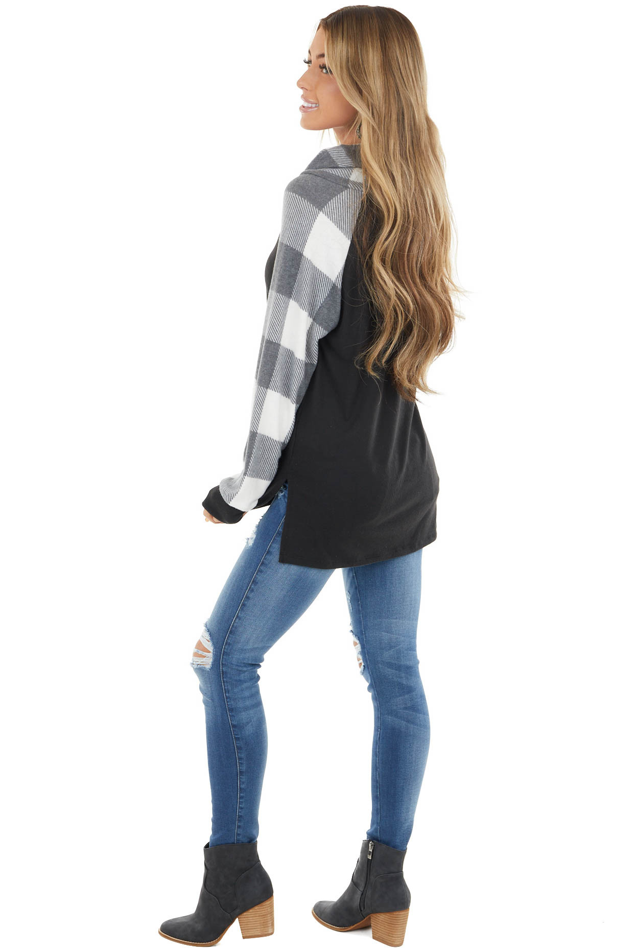 Black Super Soft Cowl Neck Top with Buffalo Plaid Sleeves