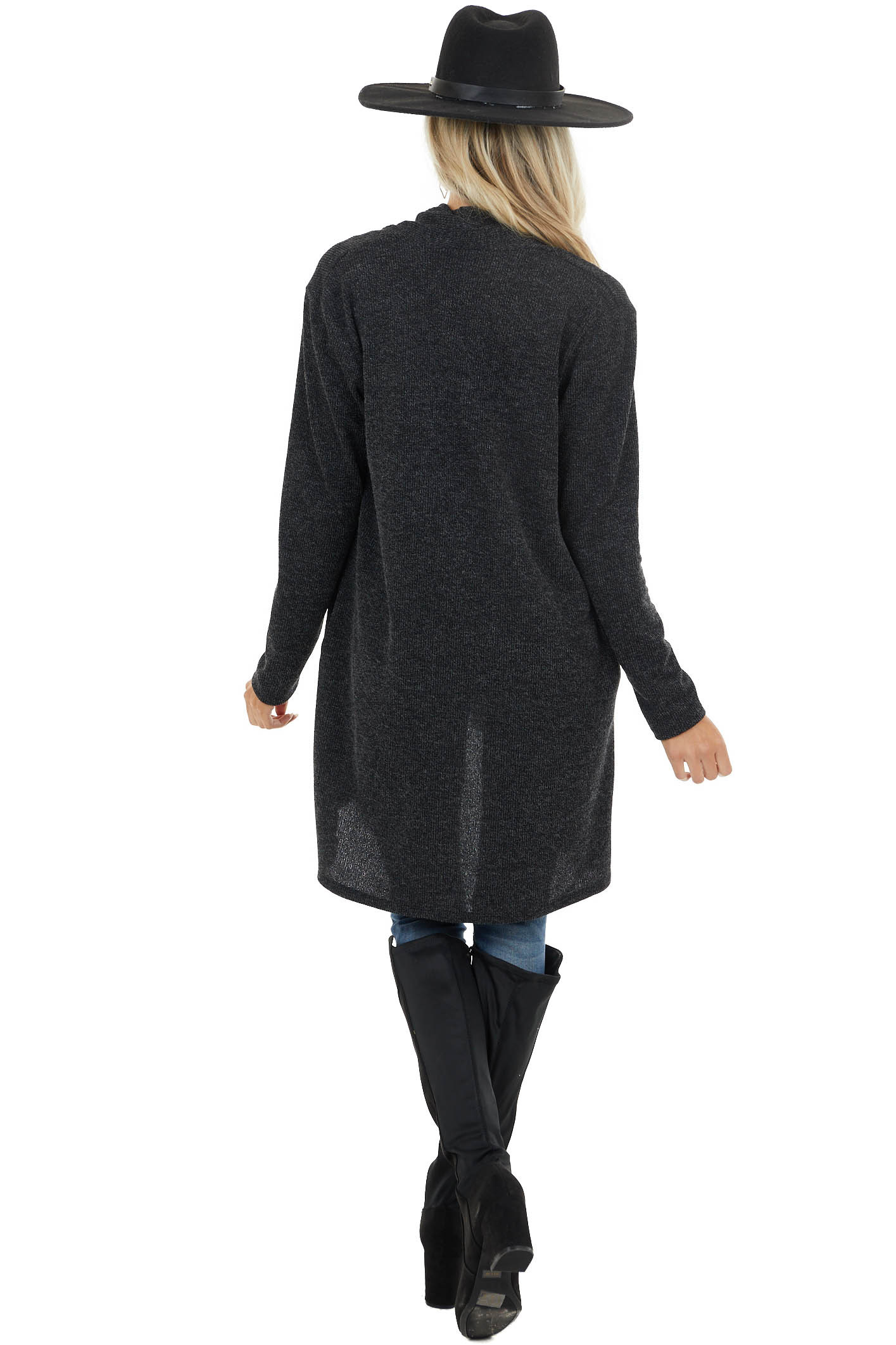 Charcoal Open Front Long Sleeve Cardigan with Pockets
