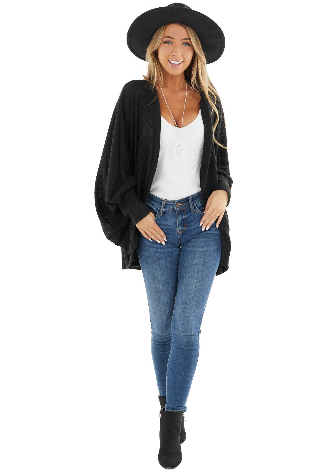 Black Waffle Knit Open Front Cardigan with Dolman Sleeves