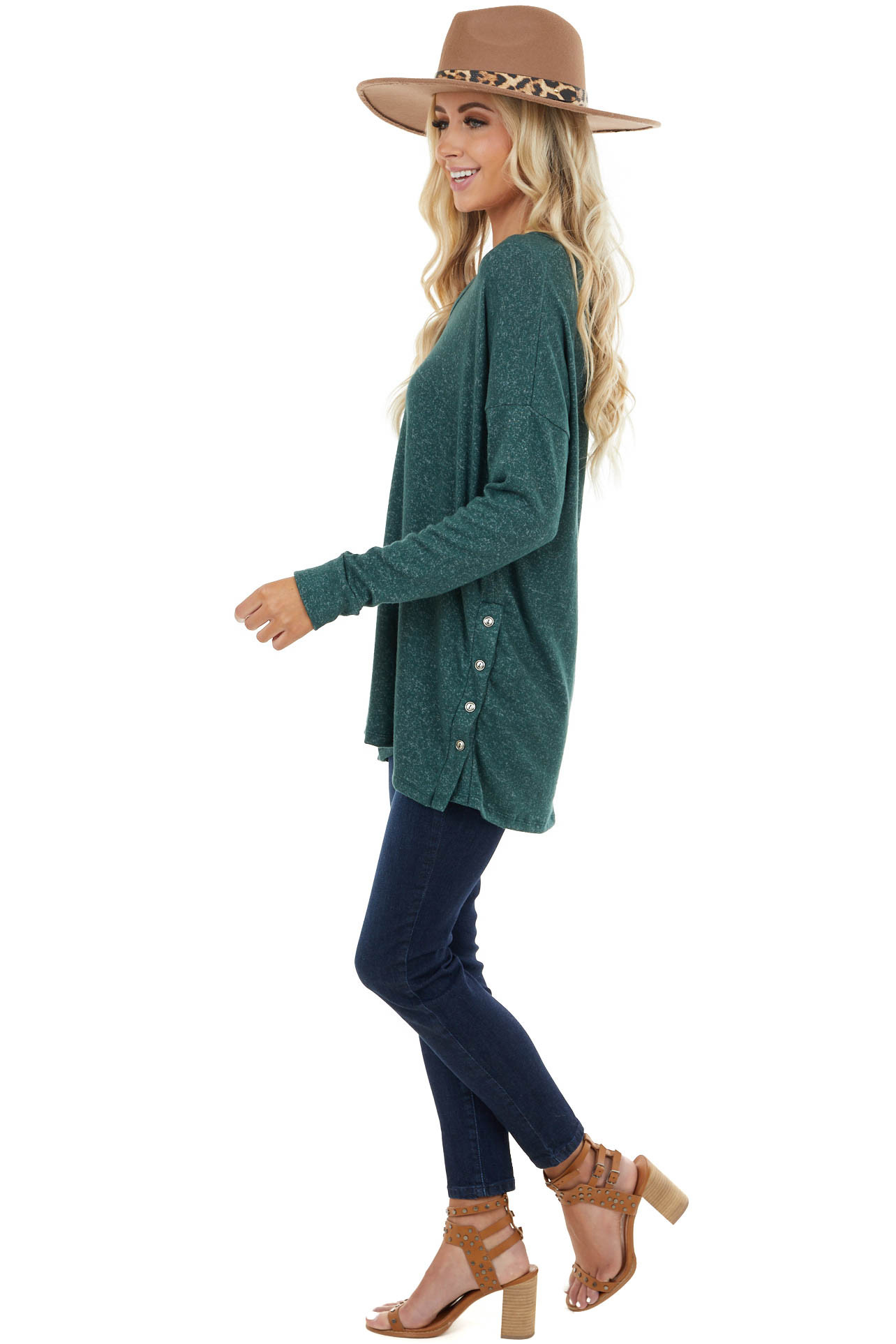 Heathered Forest Green Knit Top with Side Slits and Buttons