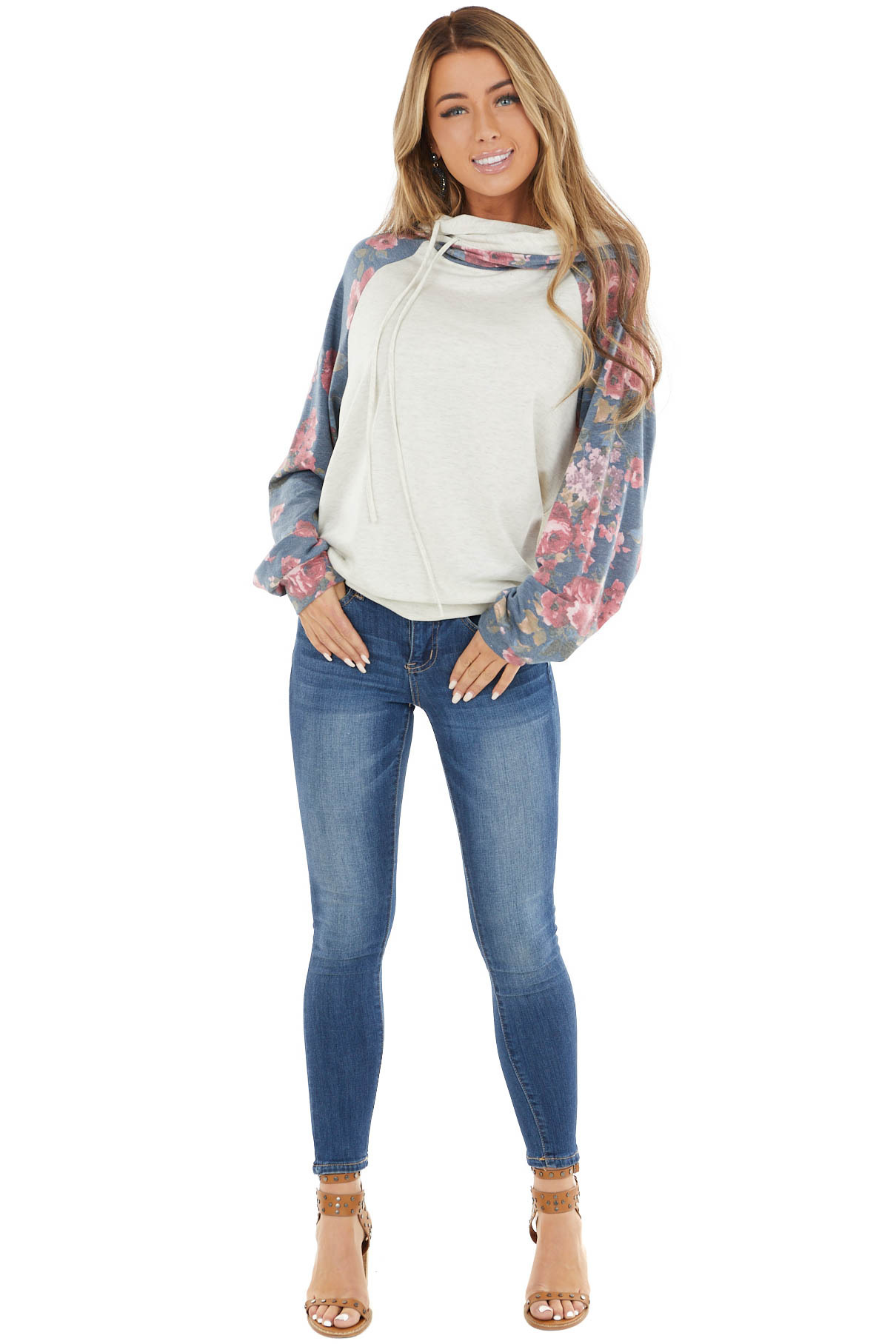 Cream and Dusty Cornflower Floral Hoodie with Drawstrings
