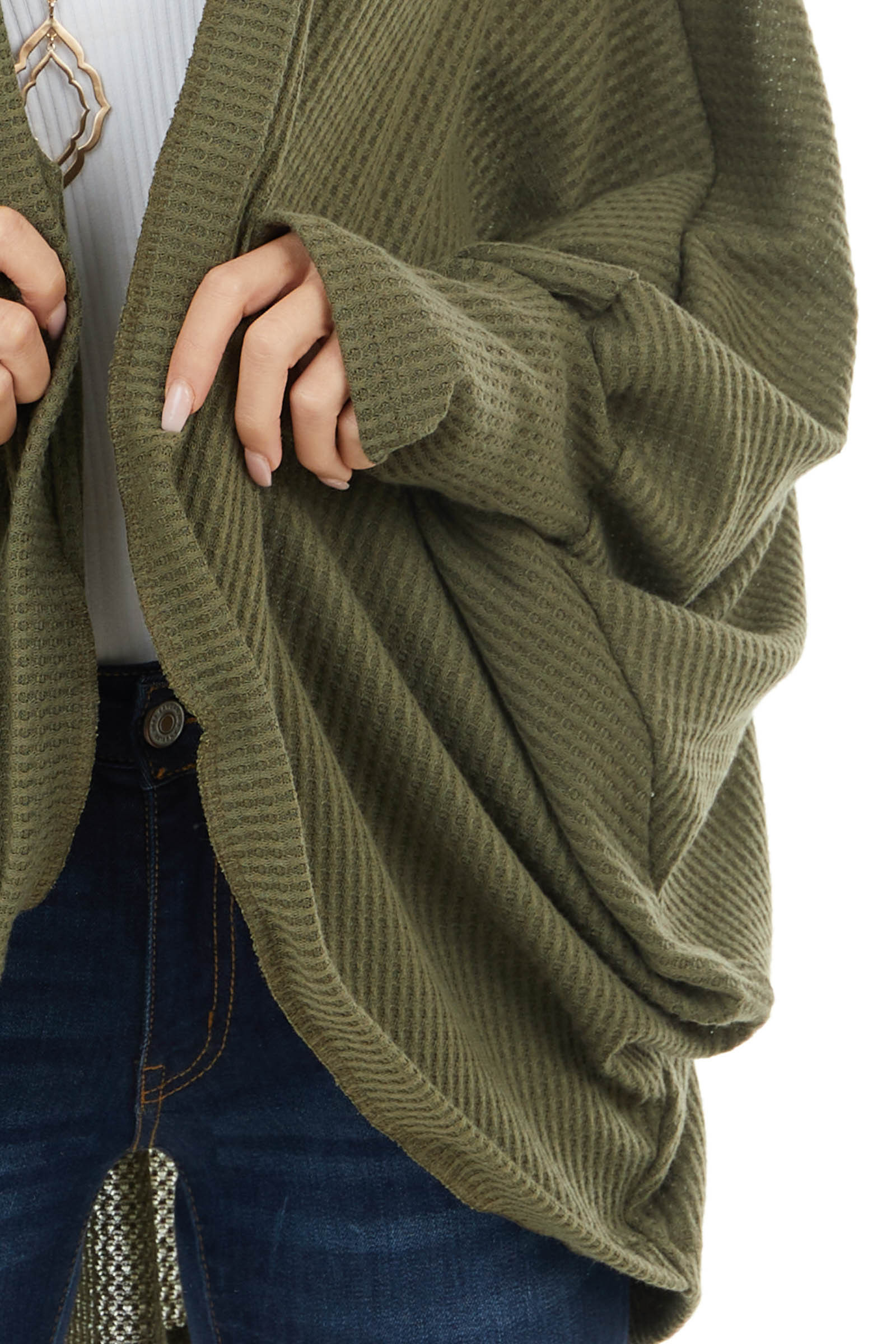 Olive Waffle Knit Open Front Cardigan with Dolman Sleeves