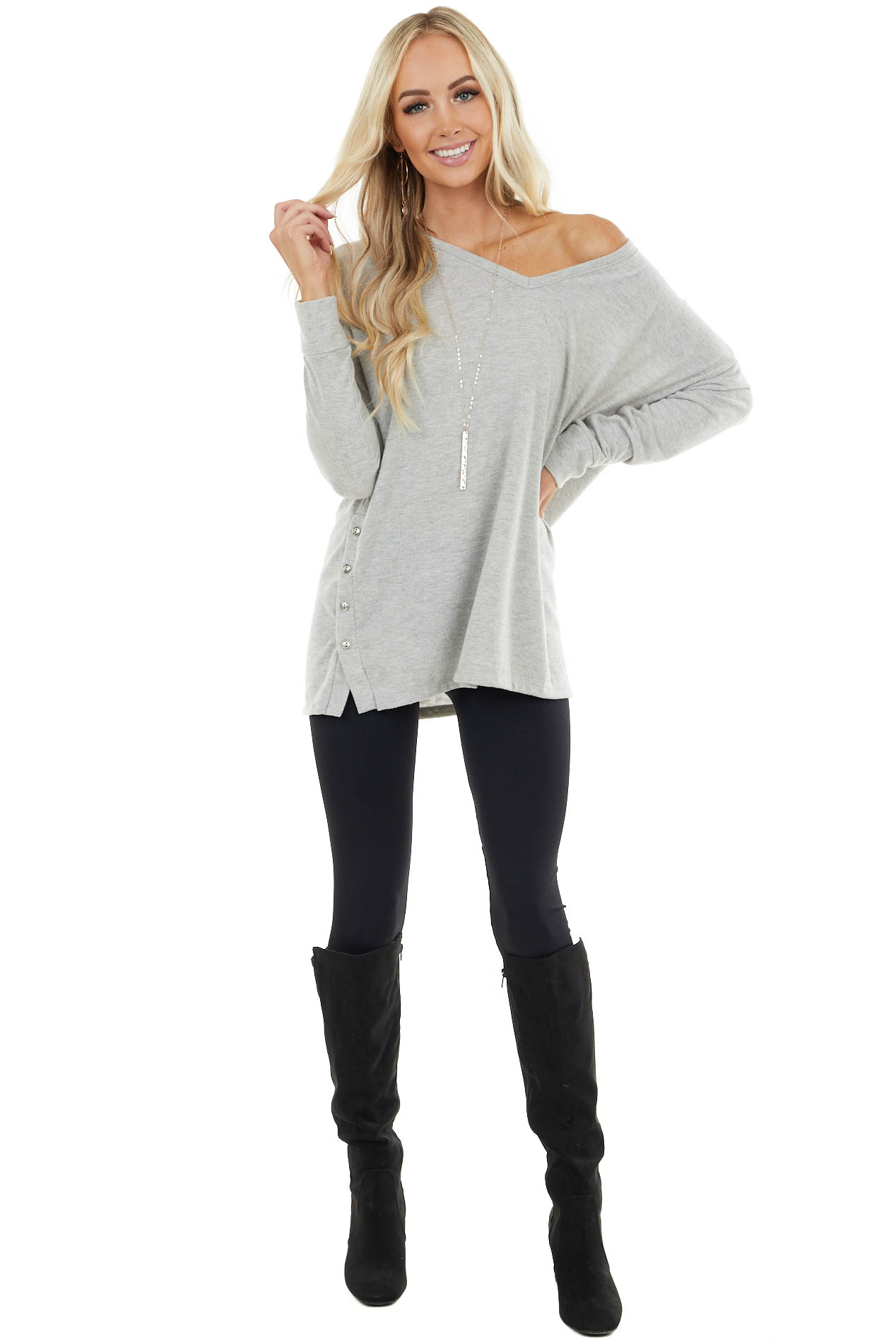 Heather Grey Soft Knit Top with Side Slits and Buttons