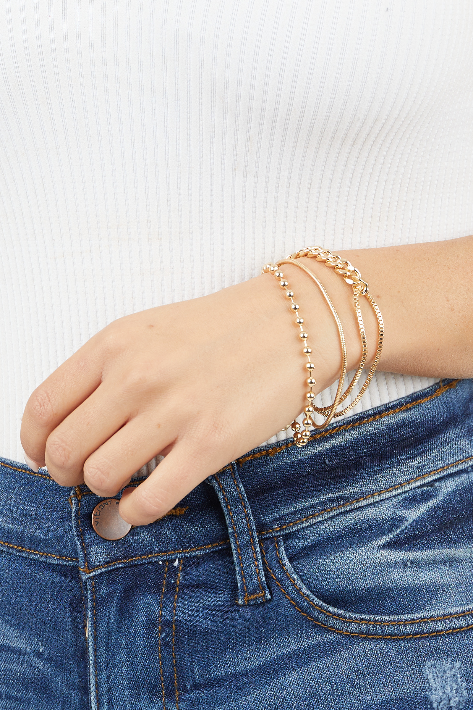 Gold Layered Multi Chain Bracelet with Lobster Cl