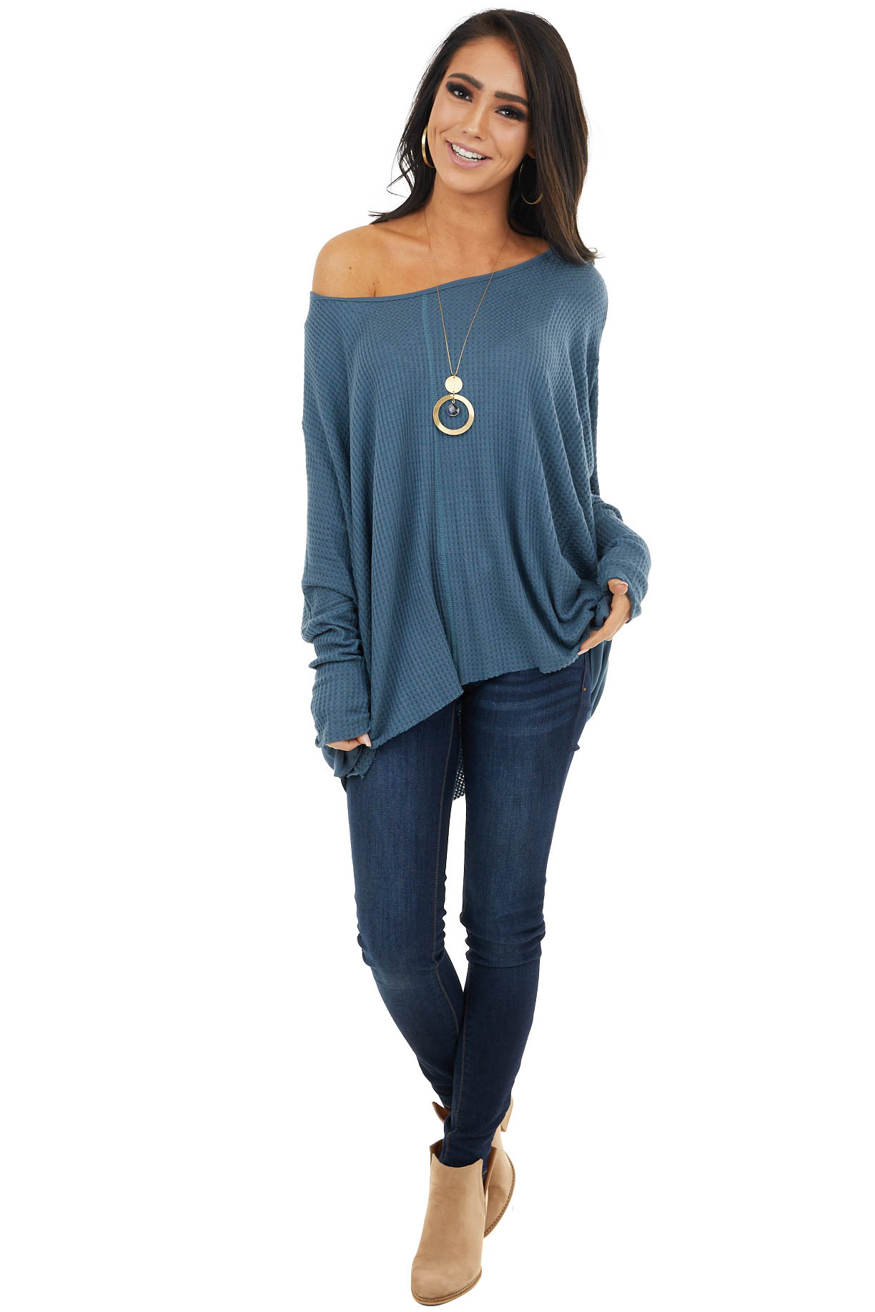 Ocean Blue Oversized Thermal Knit Long Sleeve Top