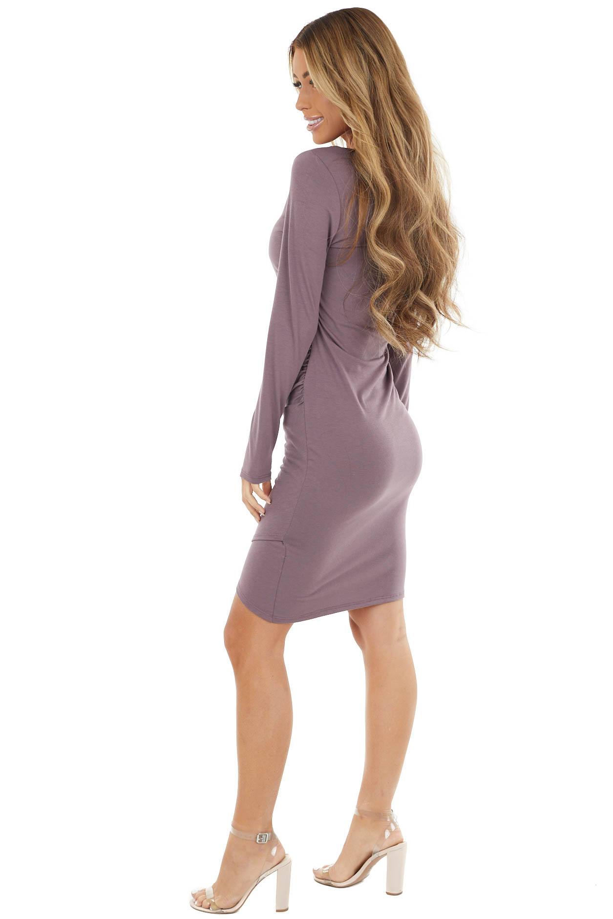 Mauve Long Sleeve Mini Dress with Side Ruching