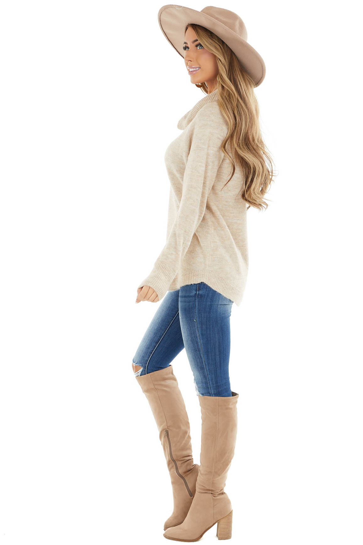 Oatmeal Lightweight Sweater with Fold Over Cowl Neck